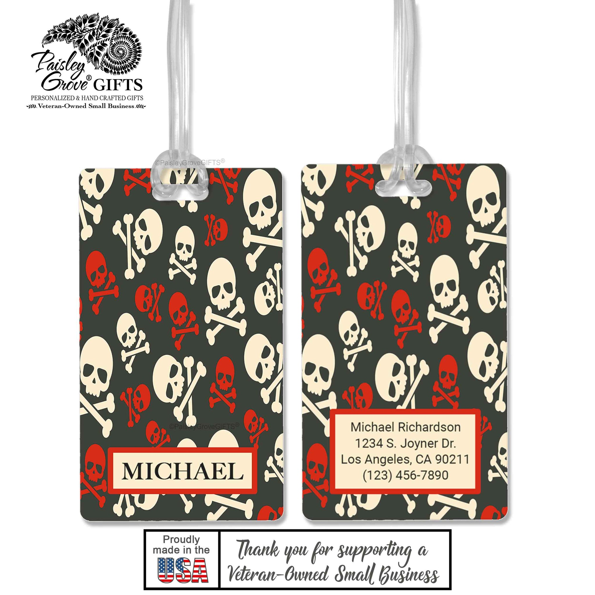 CopyrightPaisleyGroveGIFTS S152a1 Luggage Tags Customized in the USA Pirate Skull and Crossbones
