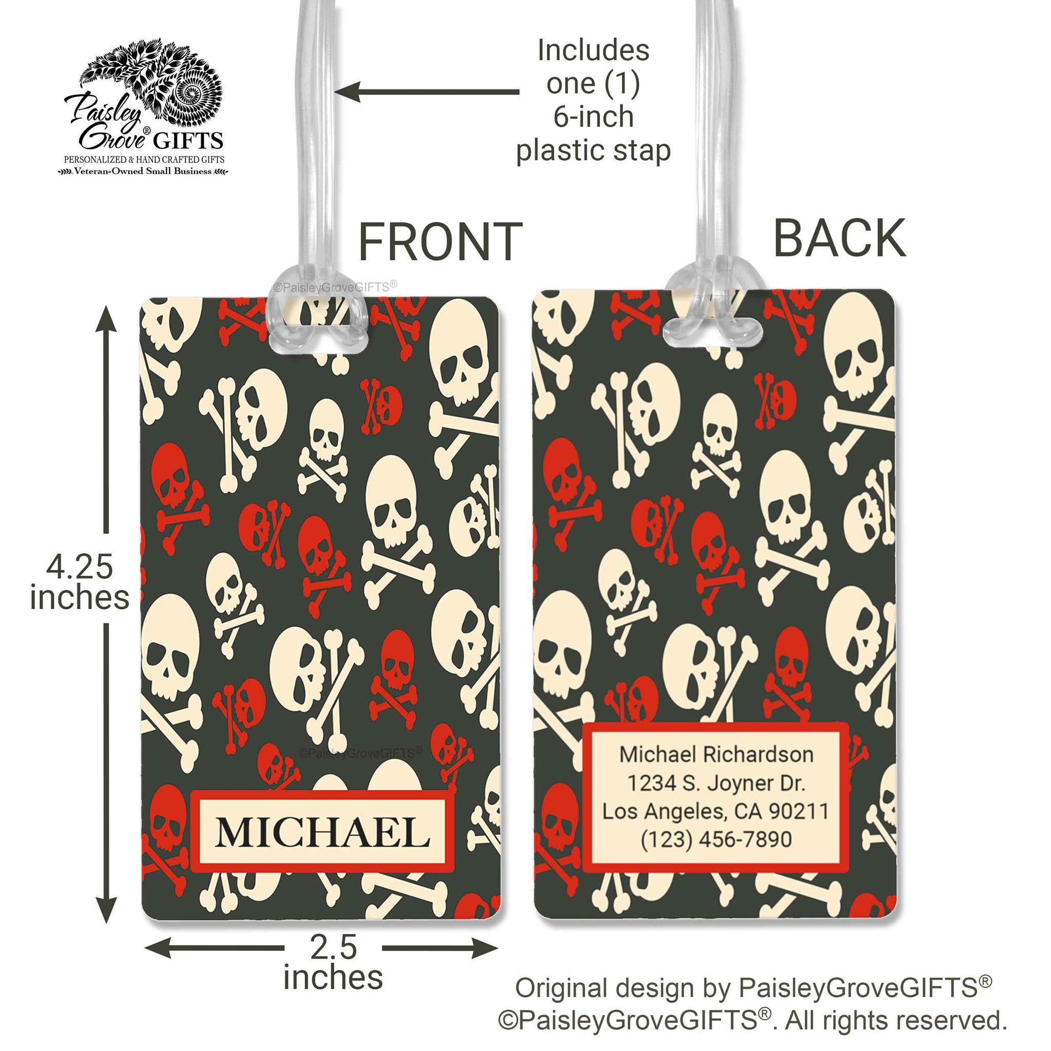 CopyrightPaisleyGroveGIFTS S152a1 Measurements of Pirate Luggage Tag for Men Boys Tweens Travel Accessory