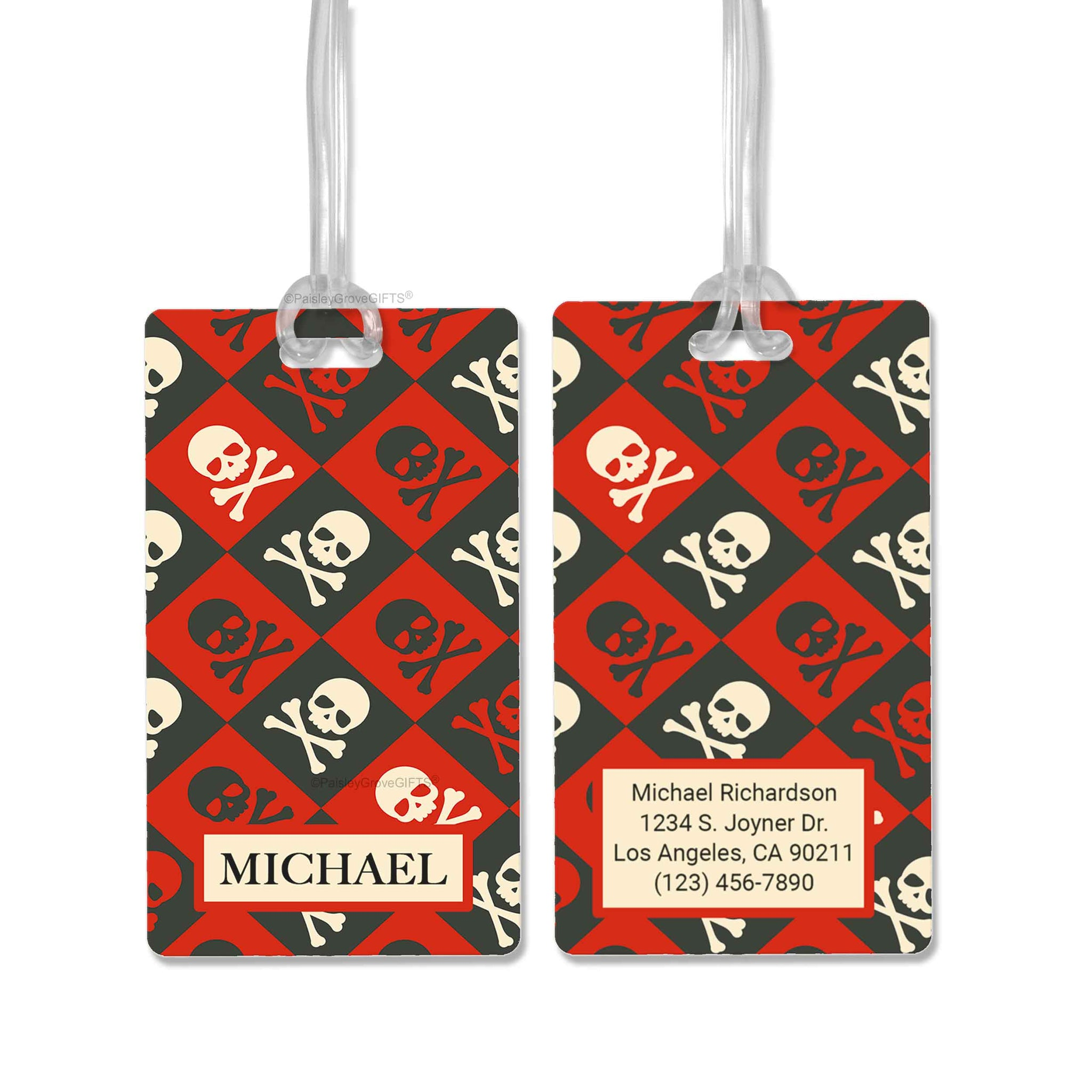 CopyrightPaisleyGroveGIFTS S152b1 Personalized luggage tag black and red pirates skull and bones