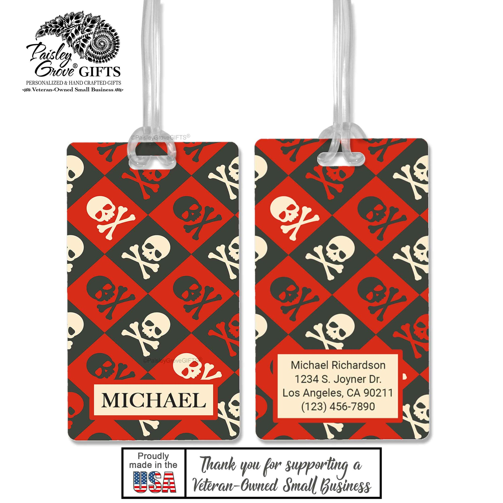 CopyrightPaisleyGroveGIFTS S152b1 Luggage Tags Customized in the USA Pirate Skull and Crossbones