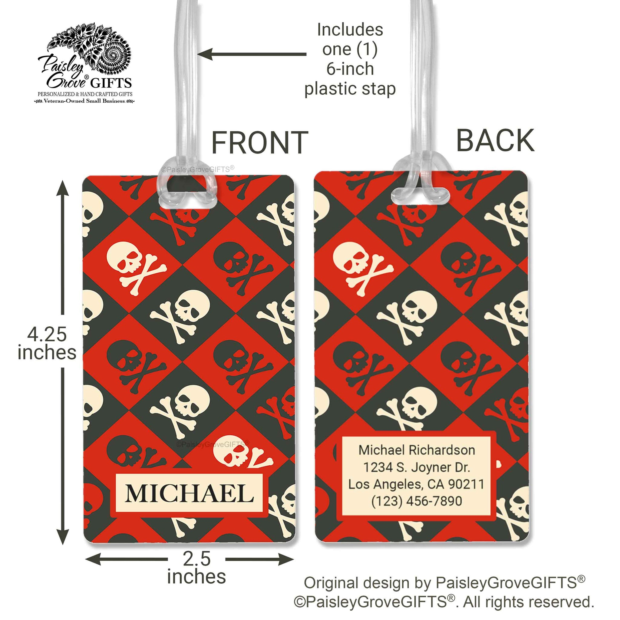 CopyrightPaisleyGroveGIFTS S152b1 Measurements of Pirate Luggage Tag for Men Boys Tweens Travel Accessory