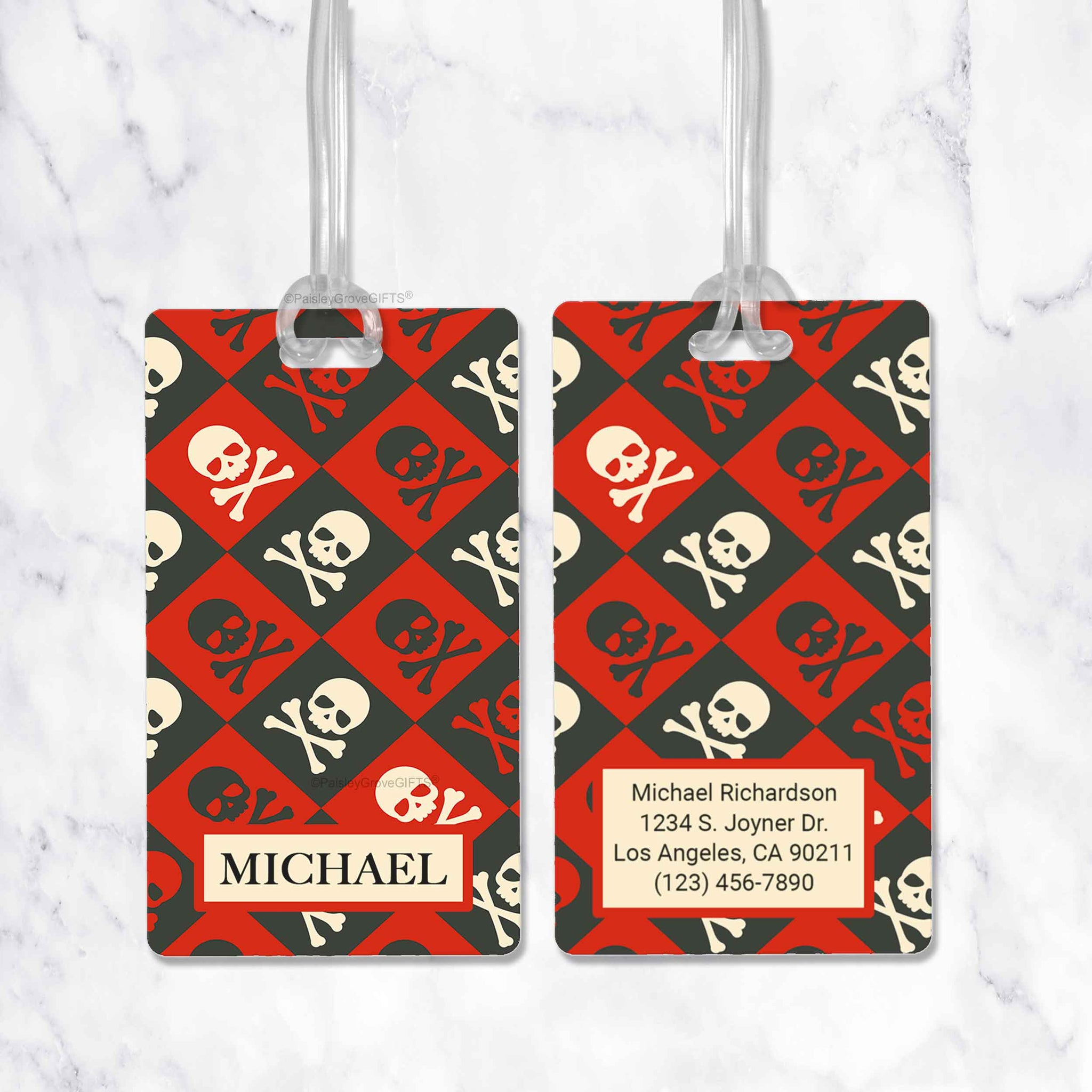 CopyrightPaisleyGroveGIFTS S152b1 Skull and Bones Pirate Luggage Tag Personalized for Bags Backpacks Diaper Bags Sports Bag