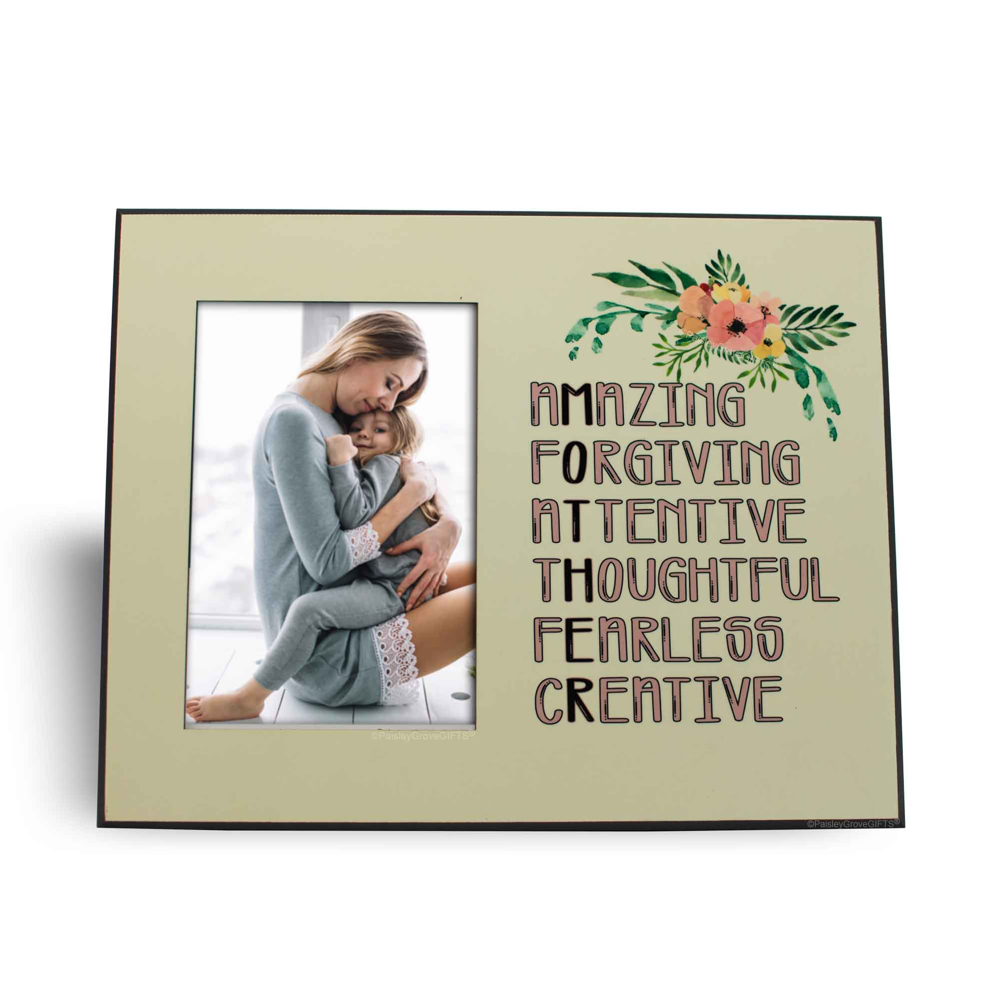 CopyrightPaisleyGroveGIFTS S202b MOTHER Acronym Amazing Forgiving Attentive Thoughtful Fearless and Creative on Frame
