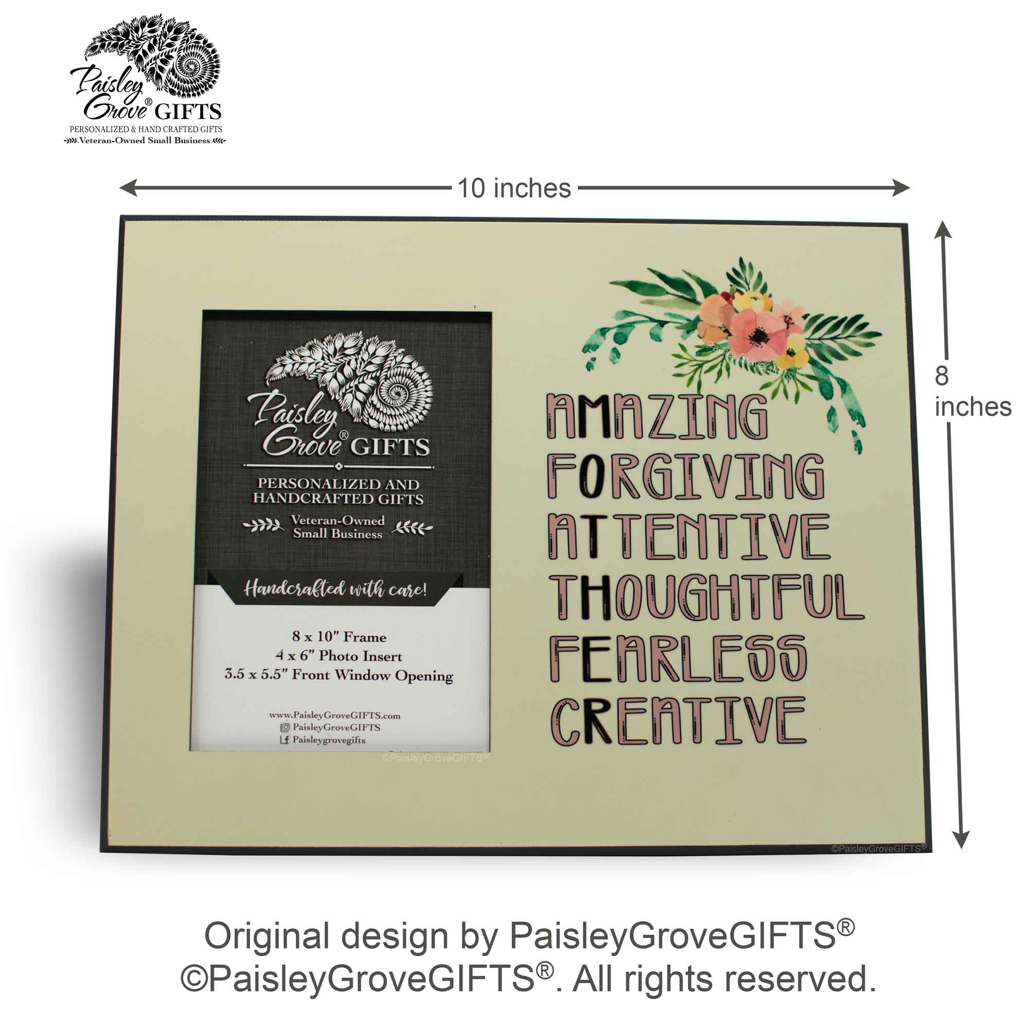 CopyrightPaisleyGroveGIFTS S202b Measurements for sentimental Mom Gift with Loving Mom Quote
