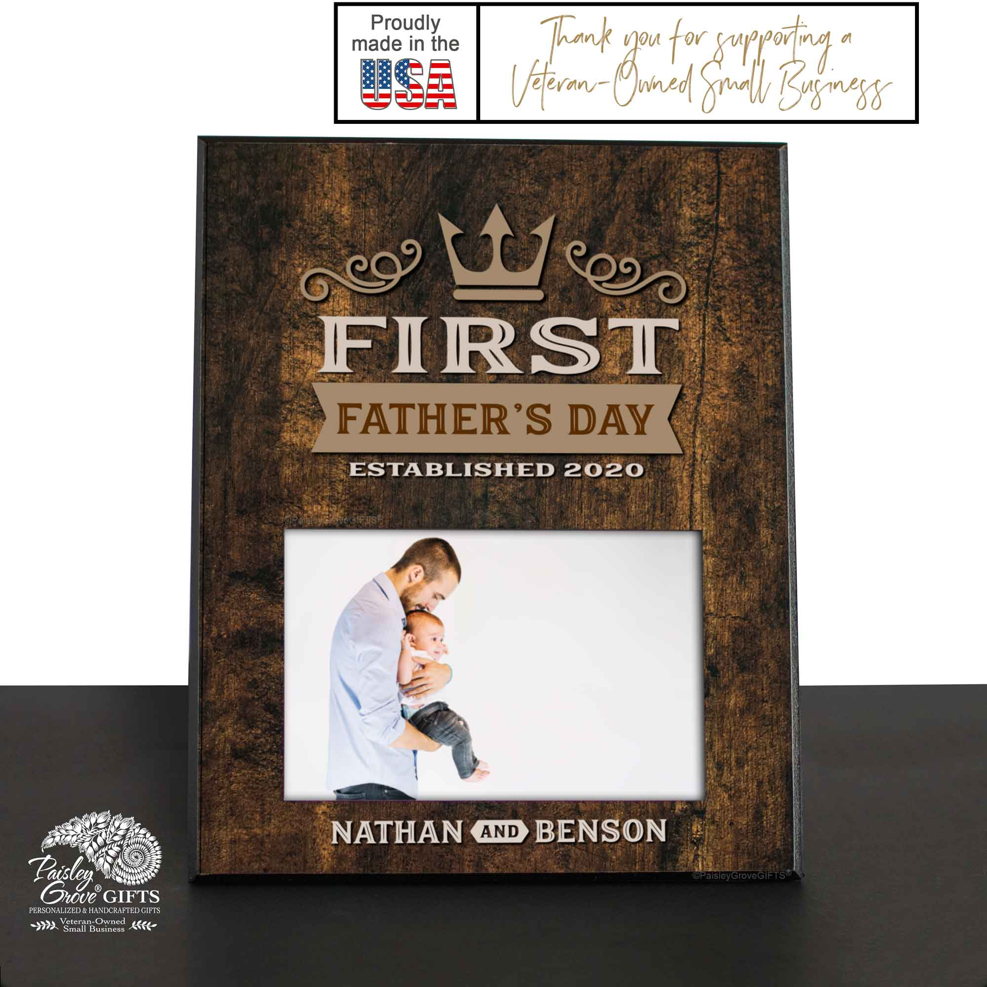 CopyrightPaisleyGroveGIFTS S215b Personalized New Dad First Father's Day Frame is Made In USA