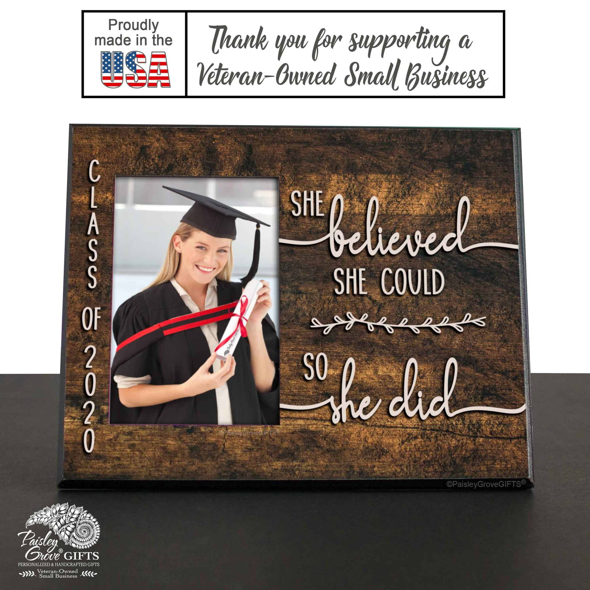 CopyrightPaisleyGroveGIFTS S226f Made in the USA Sentimental Graduation Keepsake Graduate Picture Frame