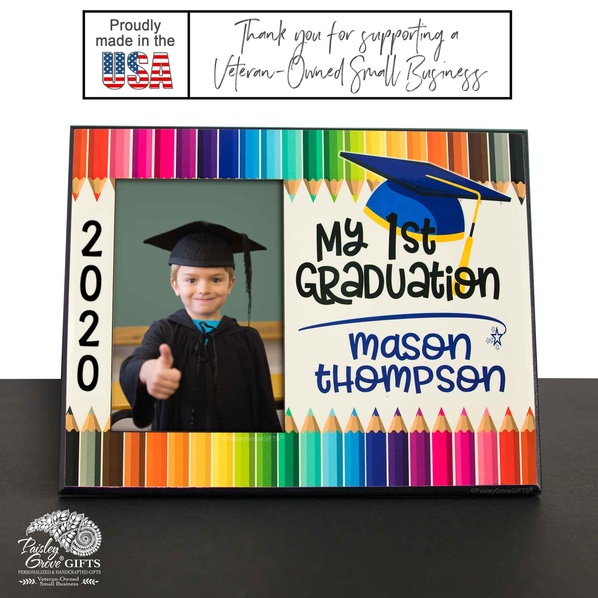 CopyrightPaisleyGroveGIFTS S228a Personalized My First Graduation Photo Frame Class of 2020 Wood Picture Frame Made in USA
