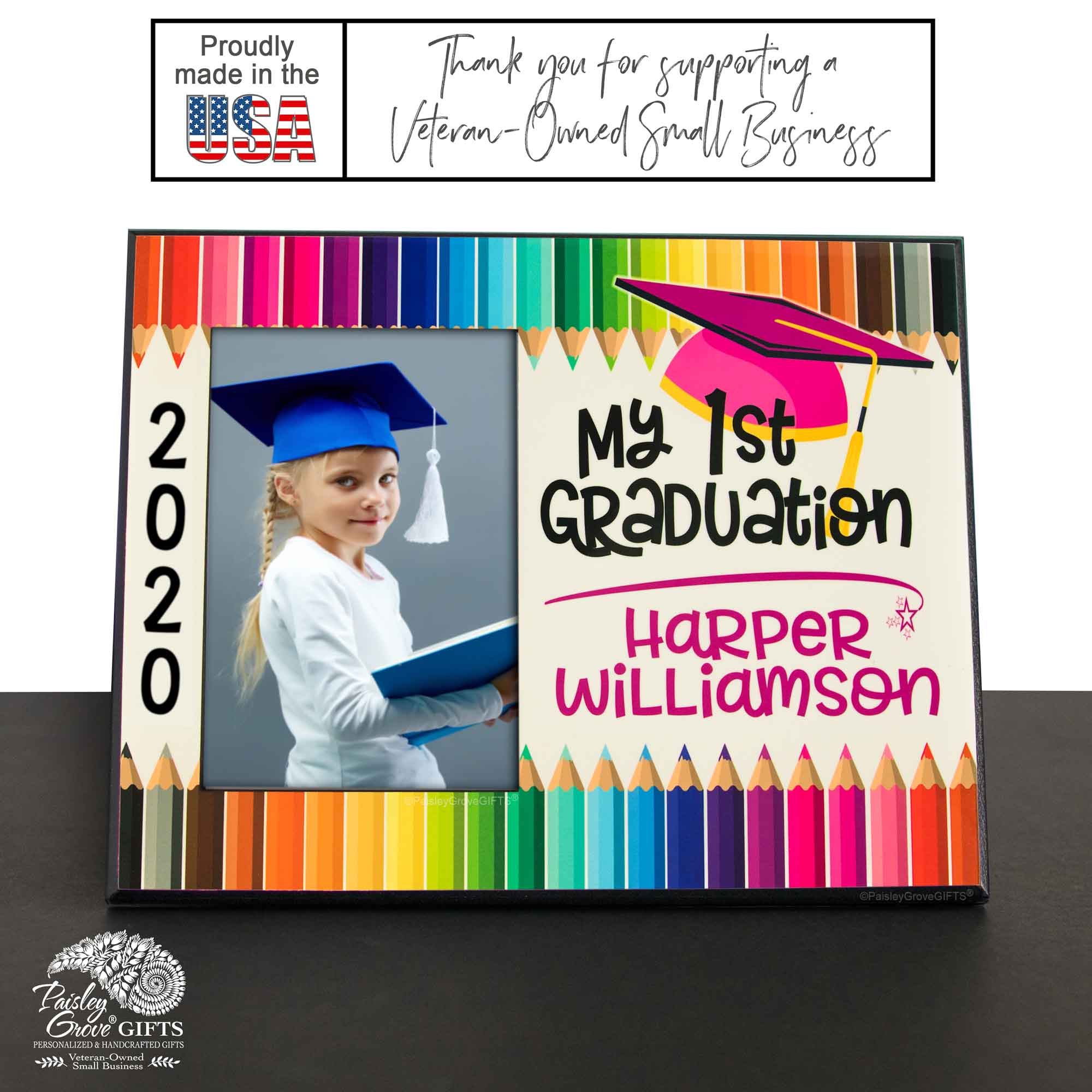 CopyrightPaisleyGroveGIFTS S228a Personalized My First Graduation Photo Frame Class of 2020 for Girls Wood Picture Frame Made in USA