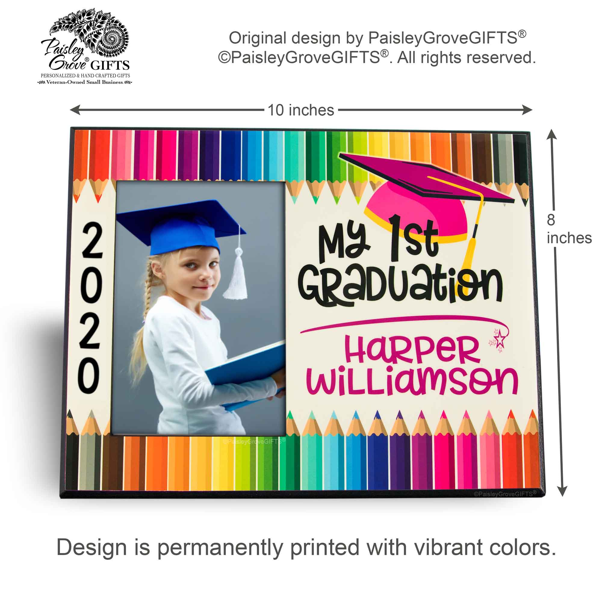 CopyrightPaisleyGroveGIFTS S228a Measurements for Customized Graduation Keepsake Graduate Picture Frame