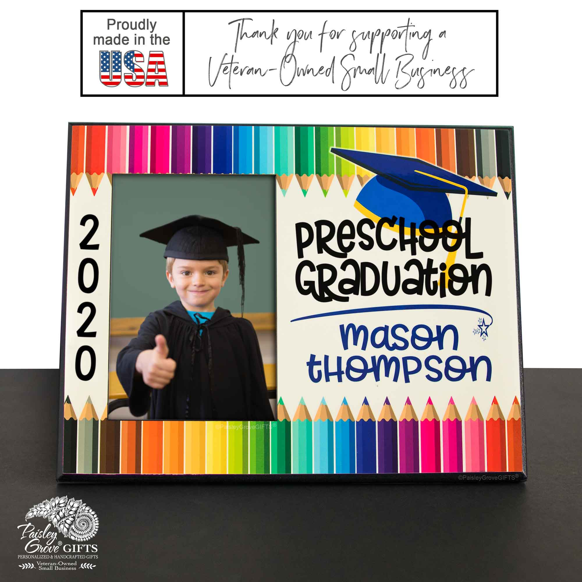 CopyrightPaisleyGroveGIFTS S228c Personalized Preschool Graduation Photo Frame Class of 2020 for Boys Wood Picture Frame Made in USA