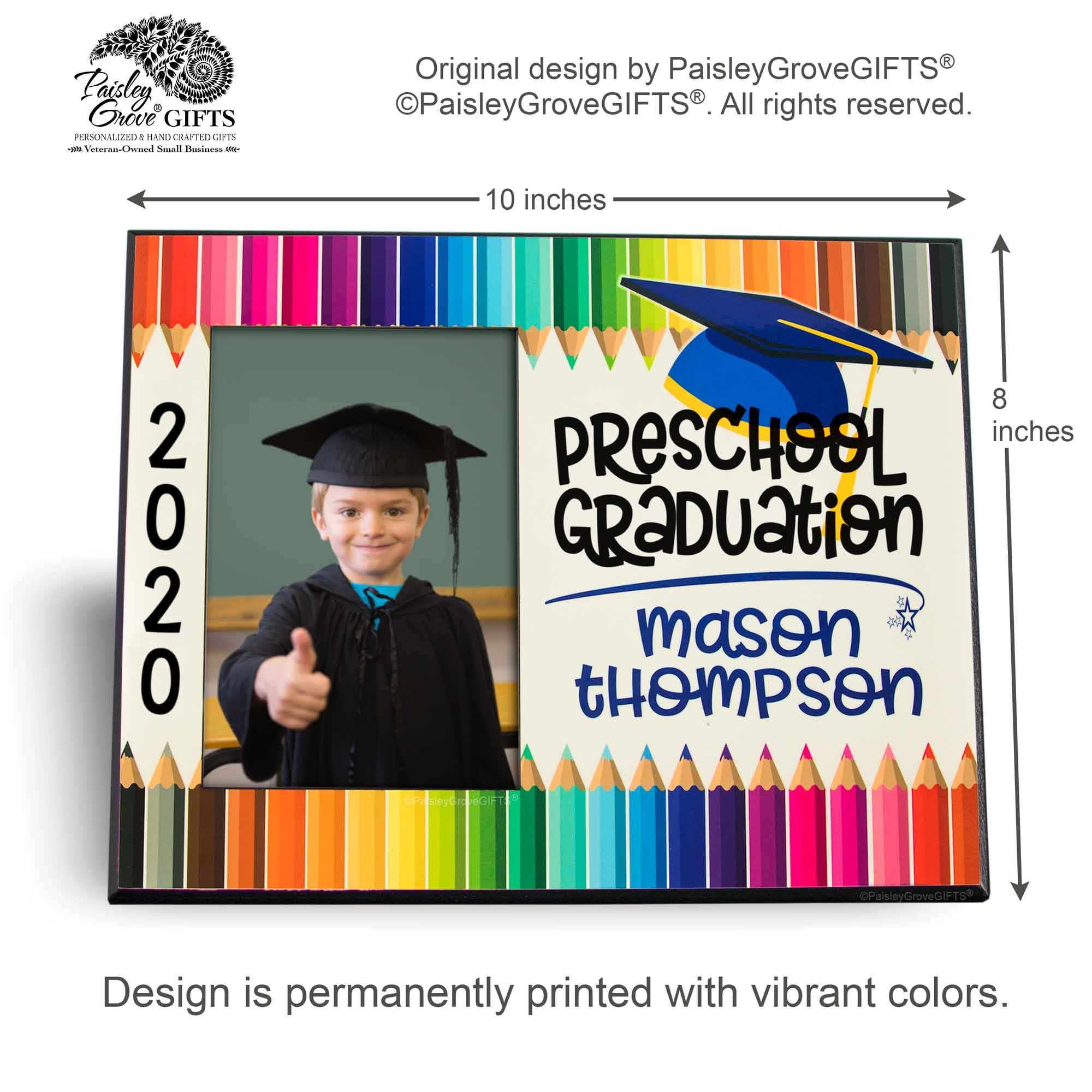 CopyrightPaisleyGroveGIFTS S228c Measurements for Customized Graduation Keepsake Preschool Graduate Frame