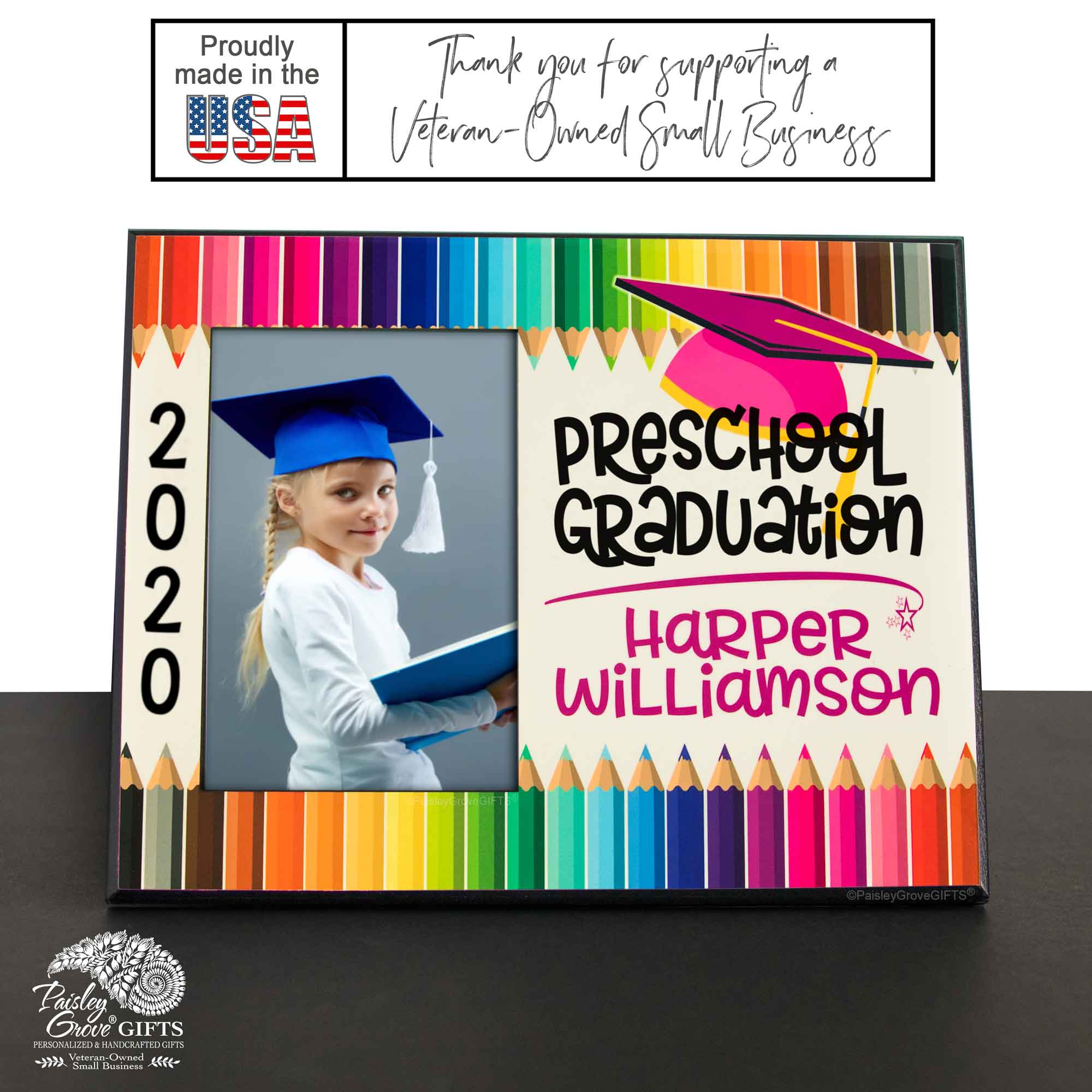 CopyrightPaisleyGroveGIFTS S228d Personalized Preschool Graduation Photo Frame Class of 2020 for Girls Wood Picture Frame Made in USA