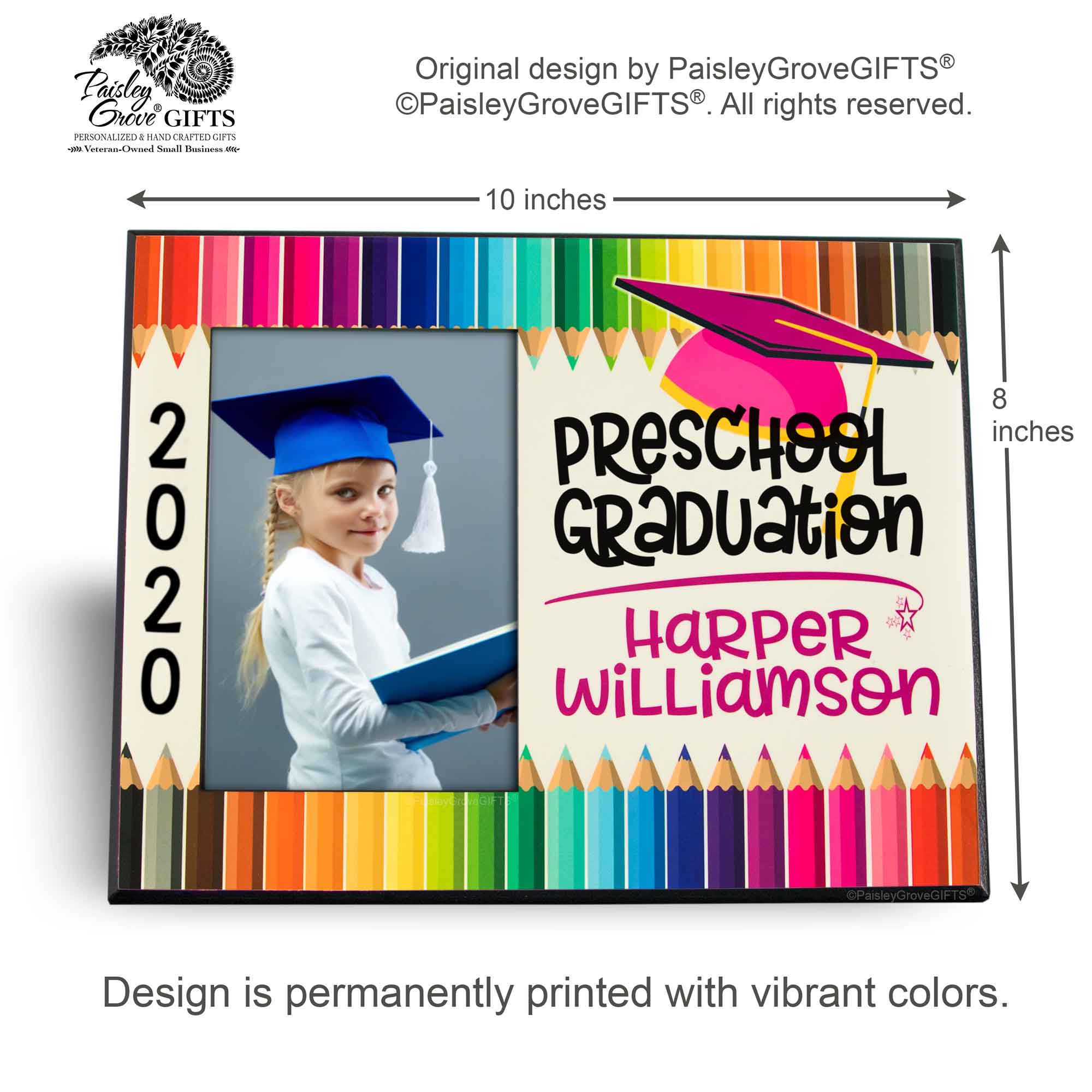 CopyrightPaisleyGroveGIFTS S228d Measurements for Customized Graduation Keepsake Preschool Graduate Frame