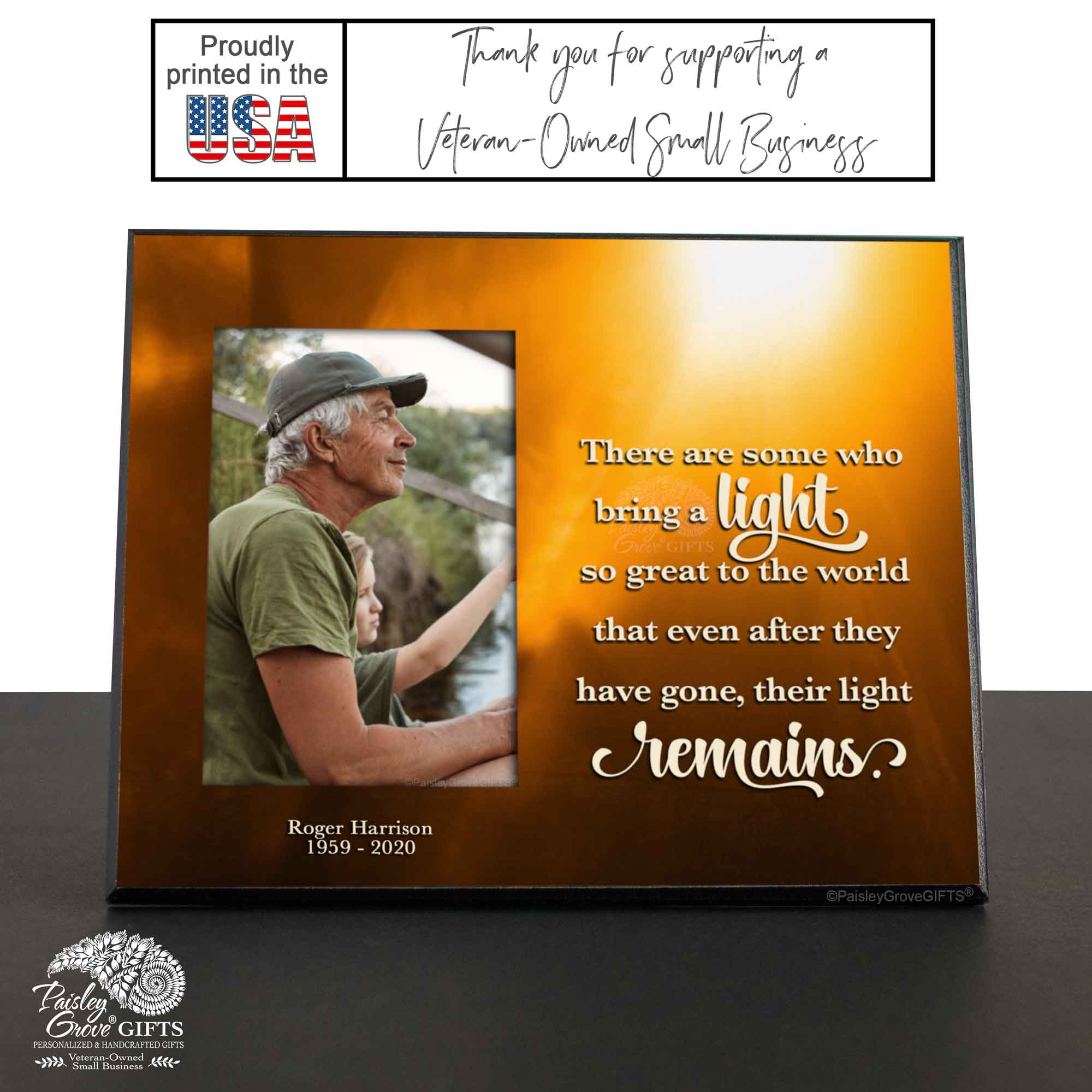 CopyrightPaisleyGroveGIFTS S235a2 Printed in the USA Personalized Memorial Gift Bereavement Frame