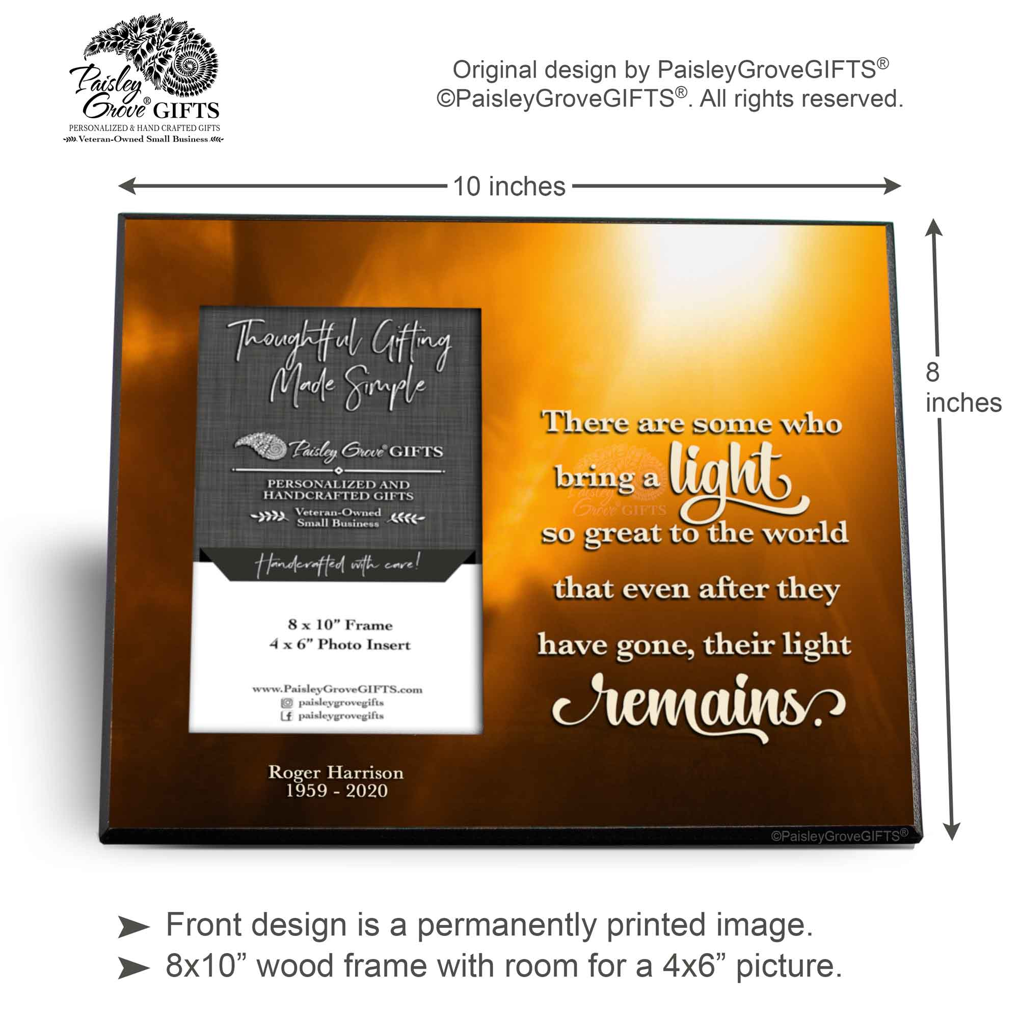 CopyrightPaisleyGroveGIFTS S235a2 Measurements for Personalized Memorial Gift Bereavement Frame