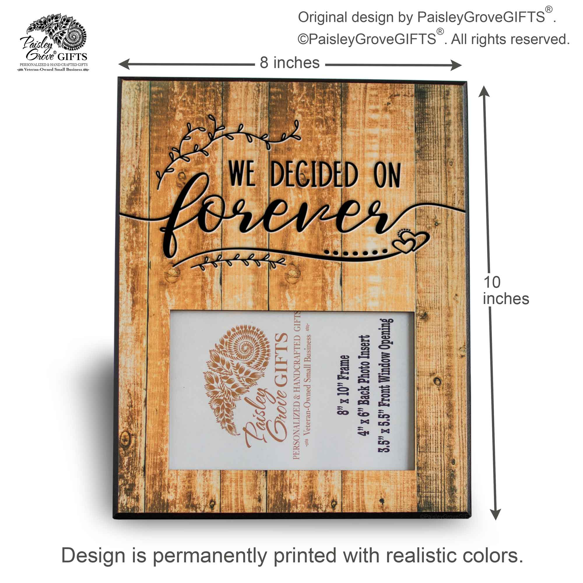 CopyrightPaisleyGroveGIFTS S201c1 Measurements for Rustic Just Engaged and Wedding Frame for Her