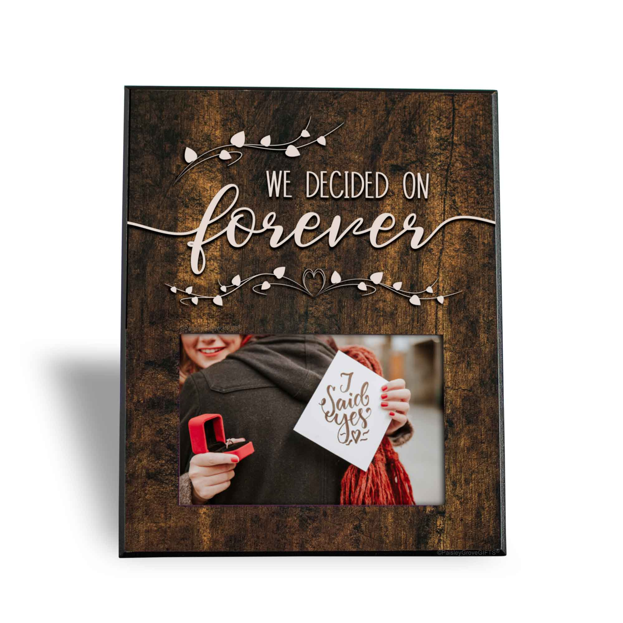 CopyrightPaisleyGroveGIFTS S240b We decided on forever engagement gifts for soon to be bride keepsake frame