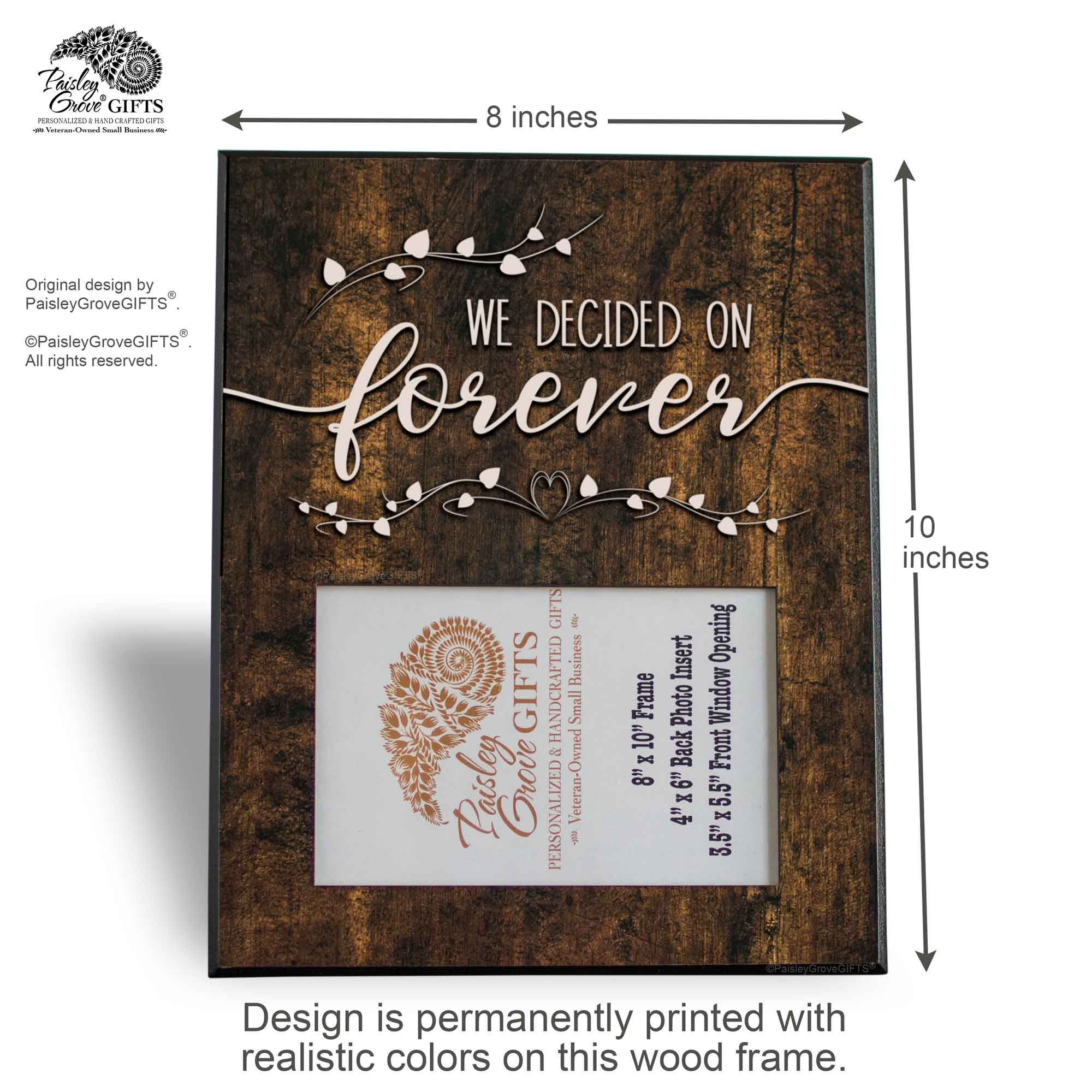 CopyrightPaisleyGroveGIFTS S240b Measurements and Design Information for Just Engaged and Wedding Frame for Her