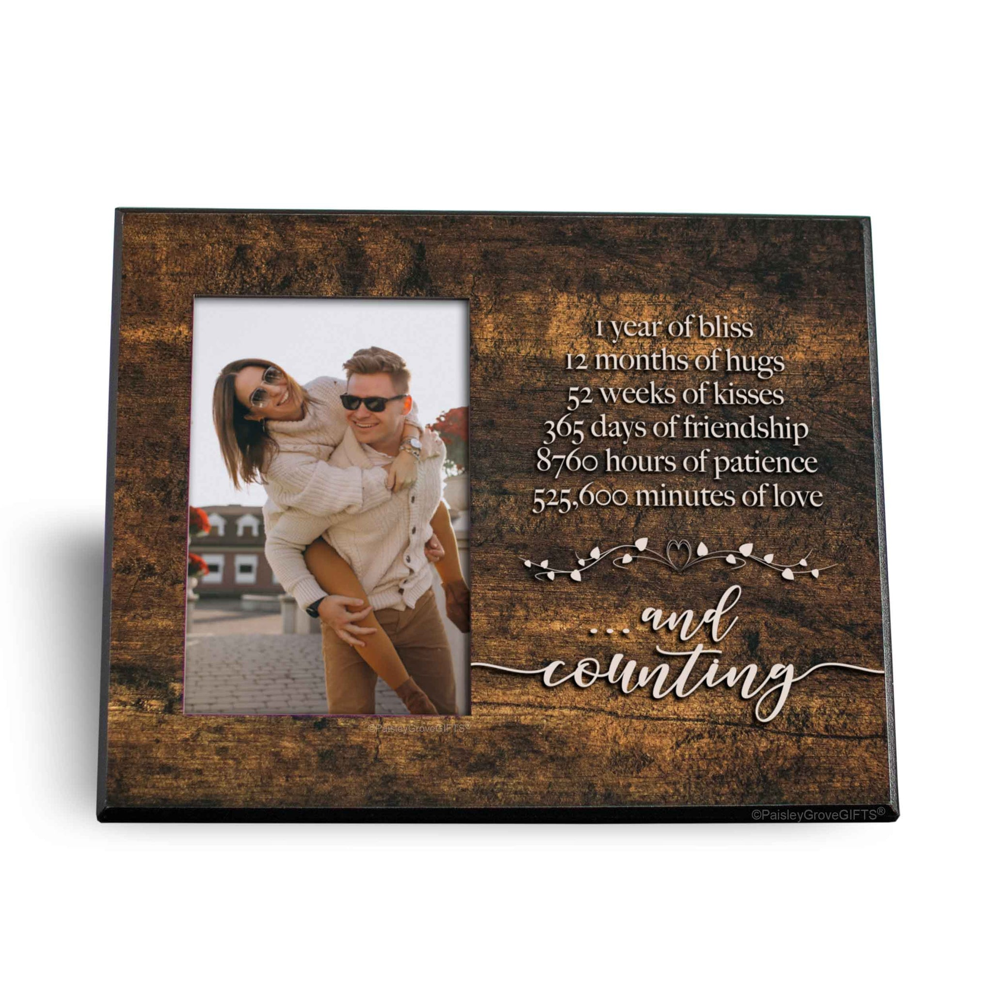 CopyrightPaisleyGroveGIFTS S245a One Year and Counting Anniversary Gift Frame for boyfriend girlfriend wife or husband