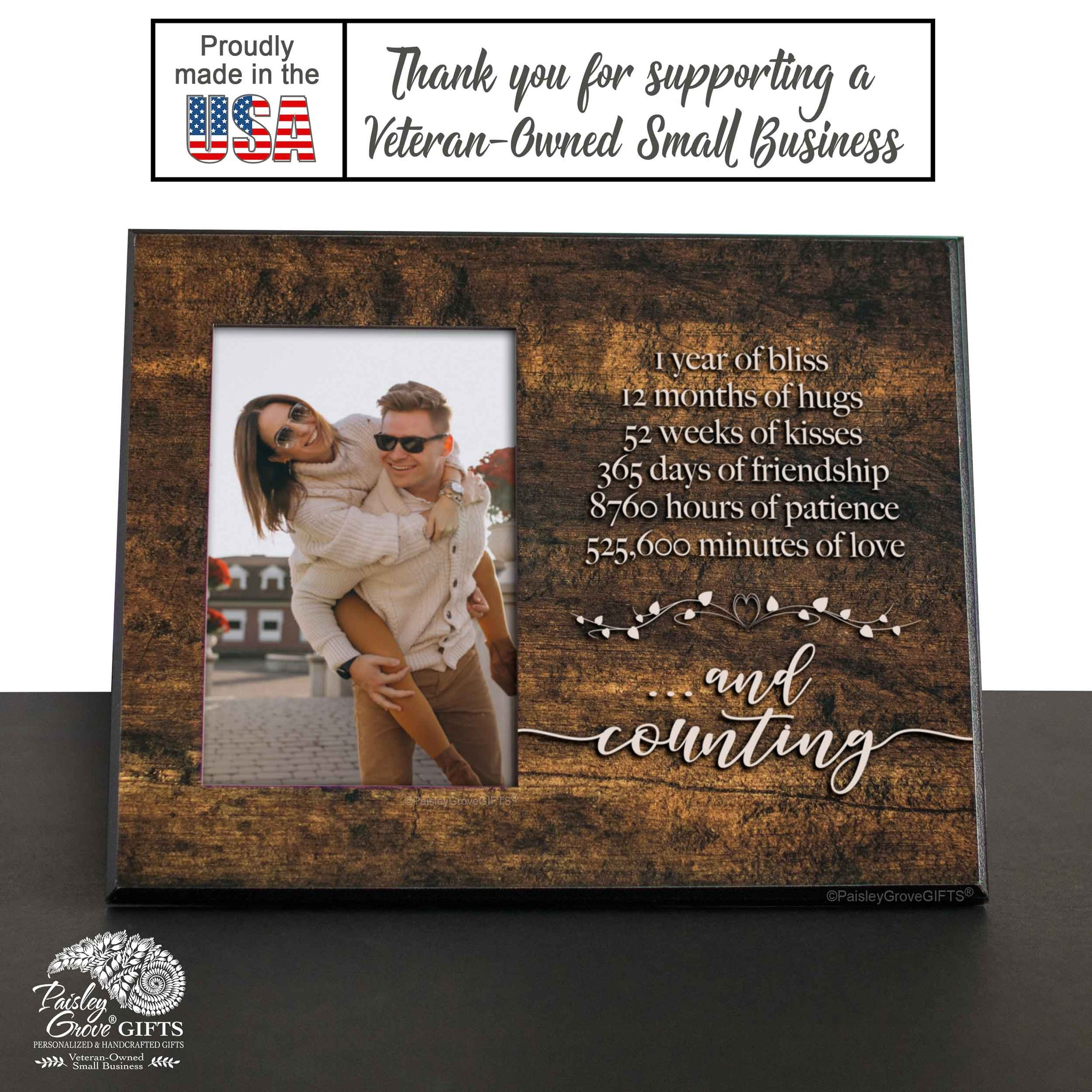 CopyrightPaisleyGroveGIFTS S245a One Year Dating or Wedding Anniversary Gift Frame is made in the USA
