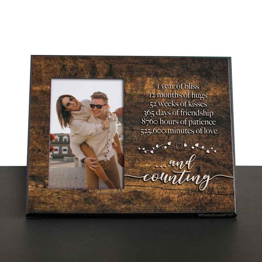 CopyrightPaisleyGroveGIFTS S245a First Wedding Anniversary Gift Wood Photo Frame gift for Husband from Wife