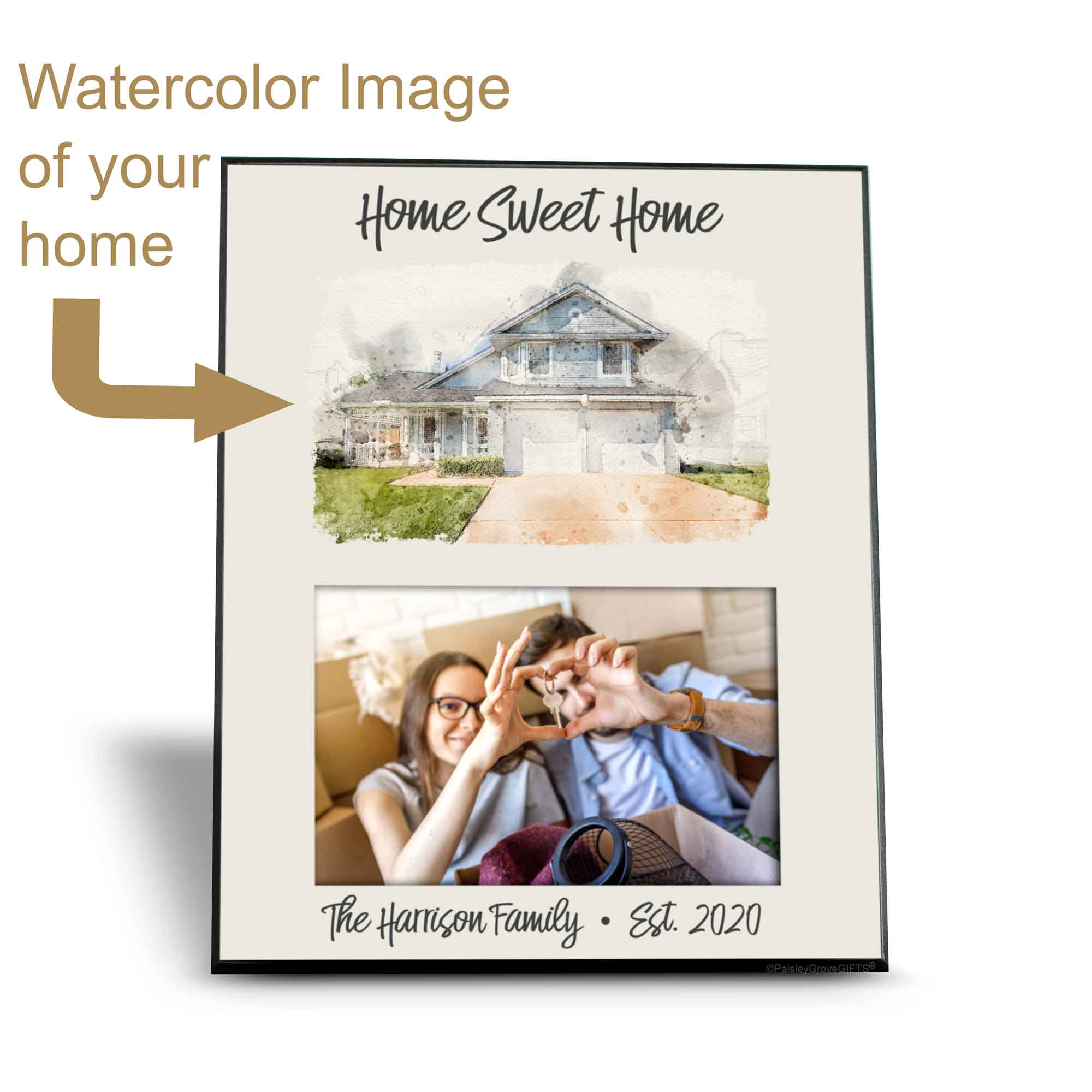 CopyrightPaisleyGroveGIFTS S250b Custom Watercolor House Illustration Personalized Housewarming Gift