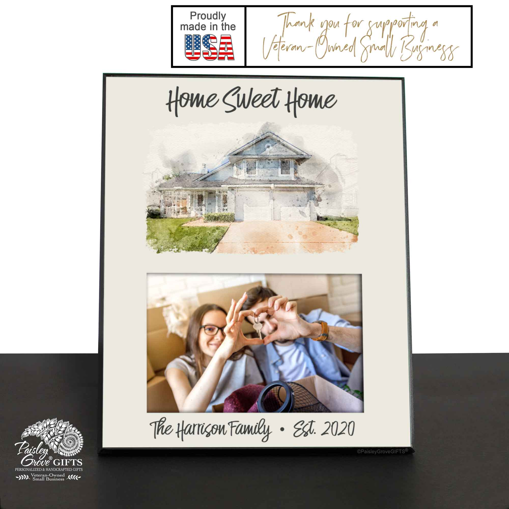 CopyrightPaisleyGroveGIFTS S250b Personalized Home Sweet Home Watercolor House Painting on Frame, Made In USA