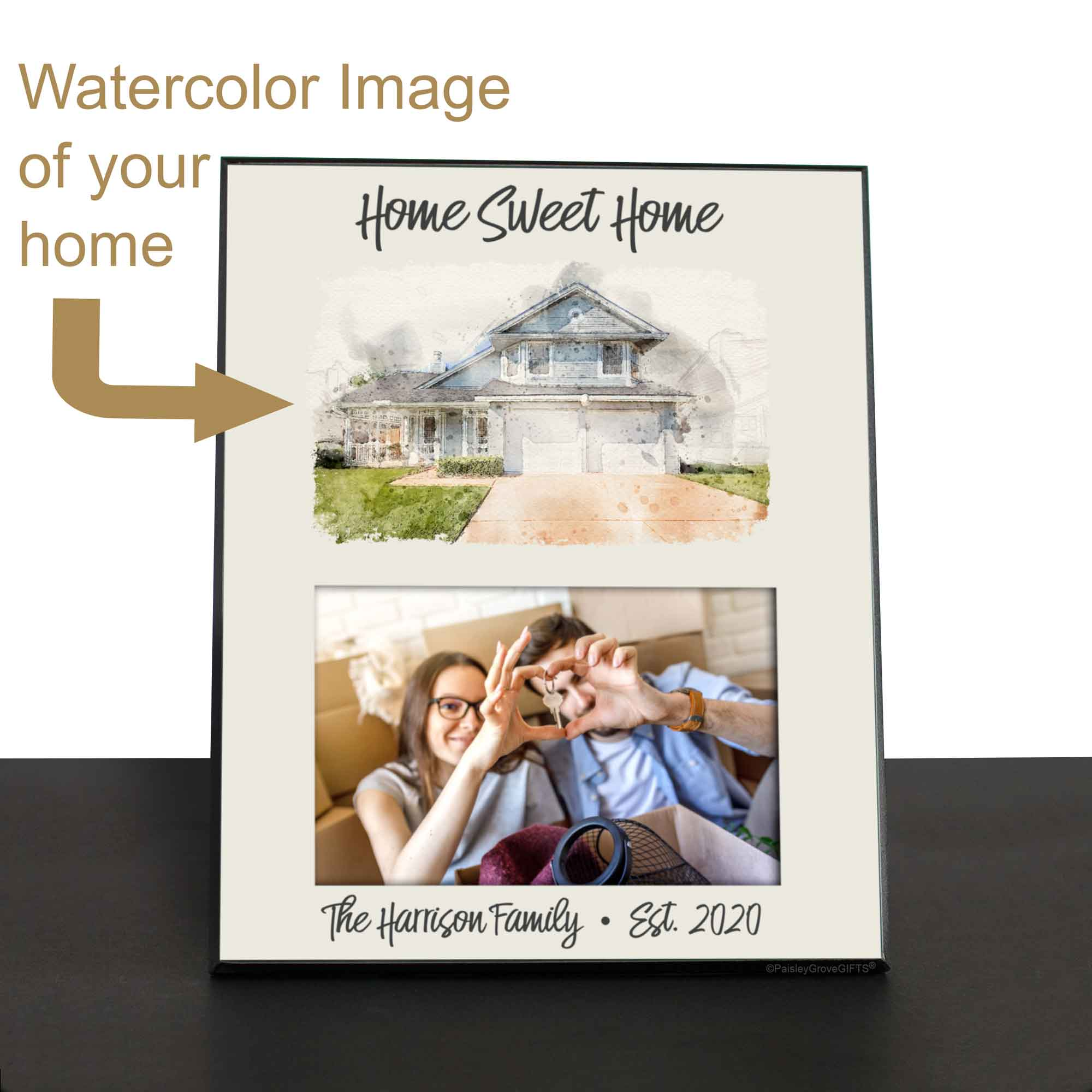 CopyrightPaisleyGroveGIFTS S250b Custom Watercolor Home Painting on Frame for New Home Gift, Add 4x6 photo of homeowners