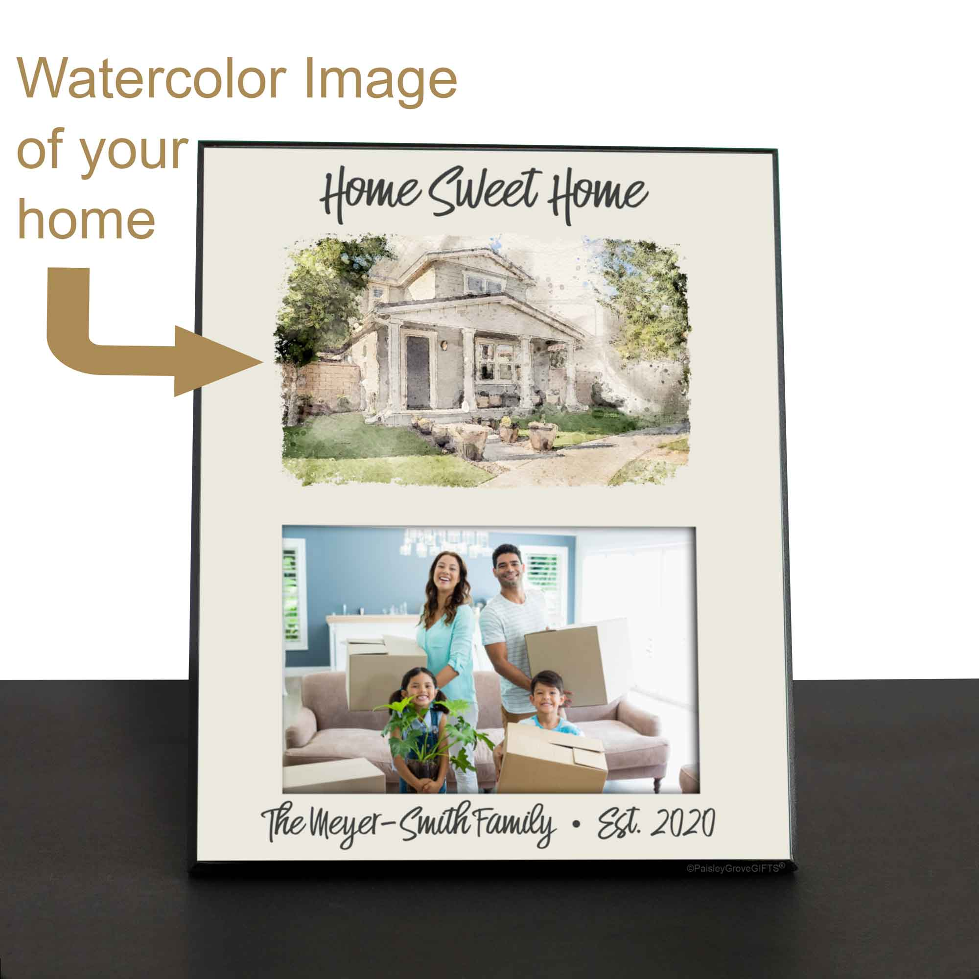 CopyrightPaisleyGroveGIFTS S250b Custom Watercolor Painting of your house on frame Personalized with Established year