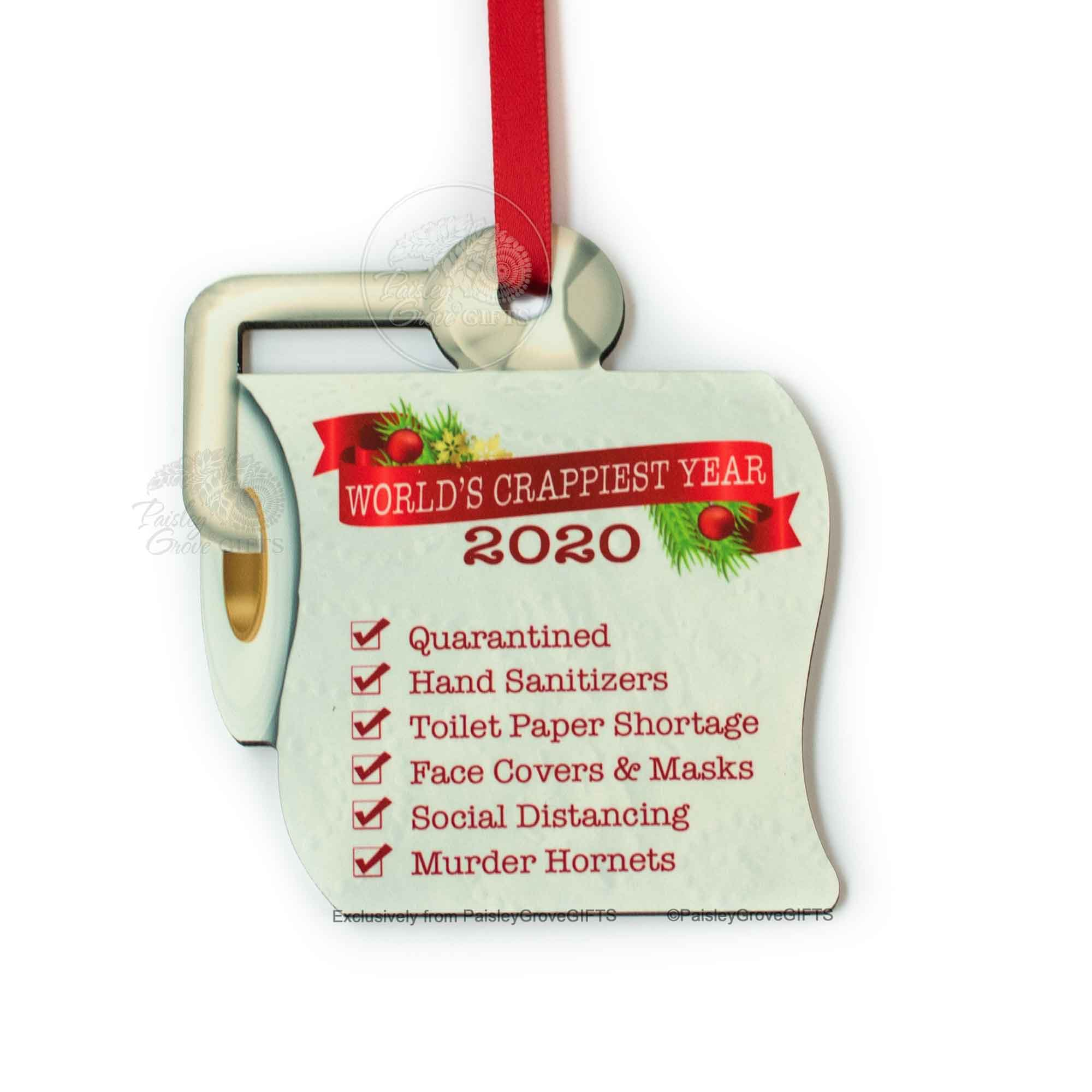 Copyright PaisleyGroveGIFTS S525b Funny Toilet Paper Christmas Ornament 2020 Worlds Crappiest Year with List of Major Events