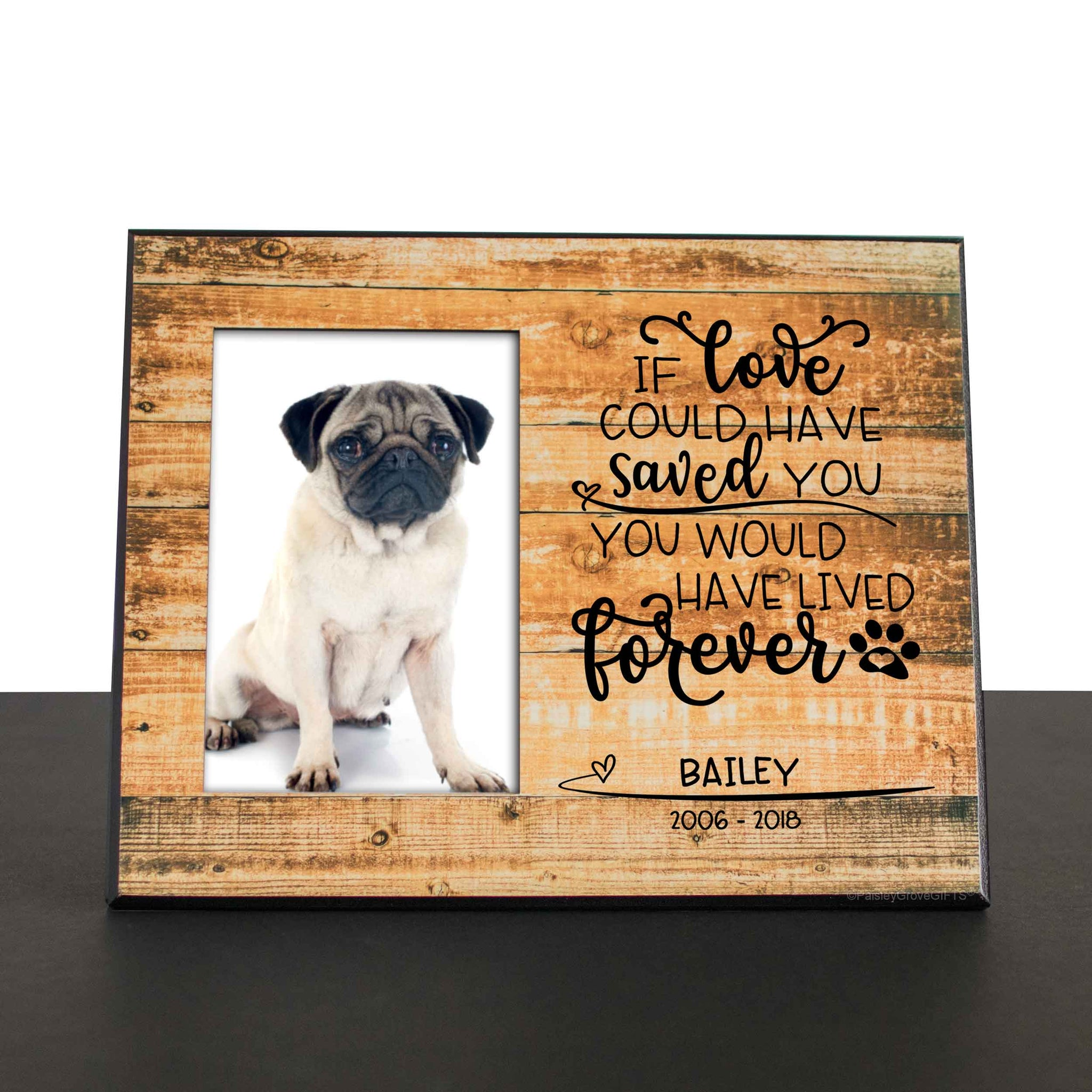 CopyrightPaisleyGroveGIFTS S280a1 Pug Death or Dog Loss Sympathy Gift for Pet Death Remembrance Frame