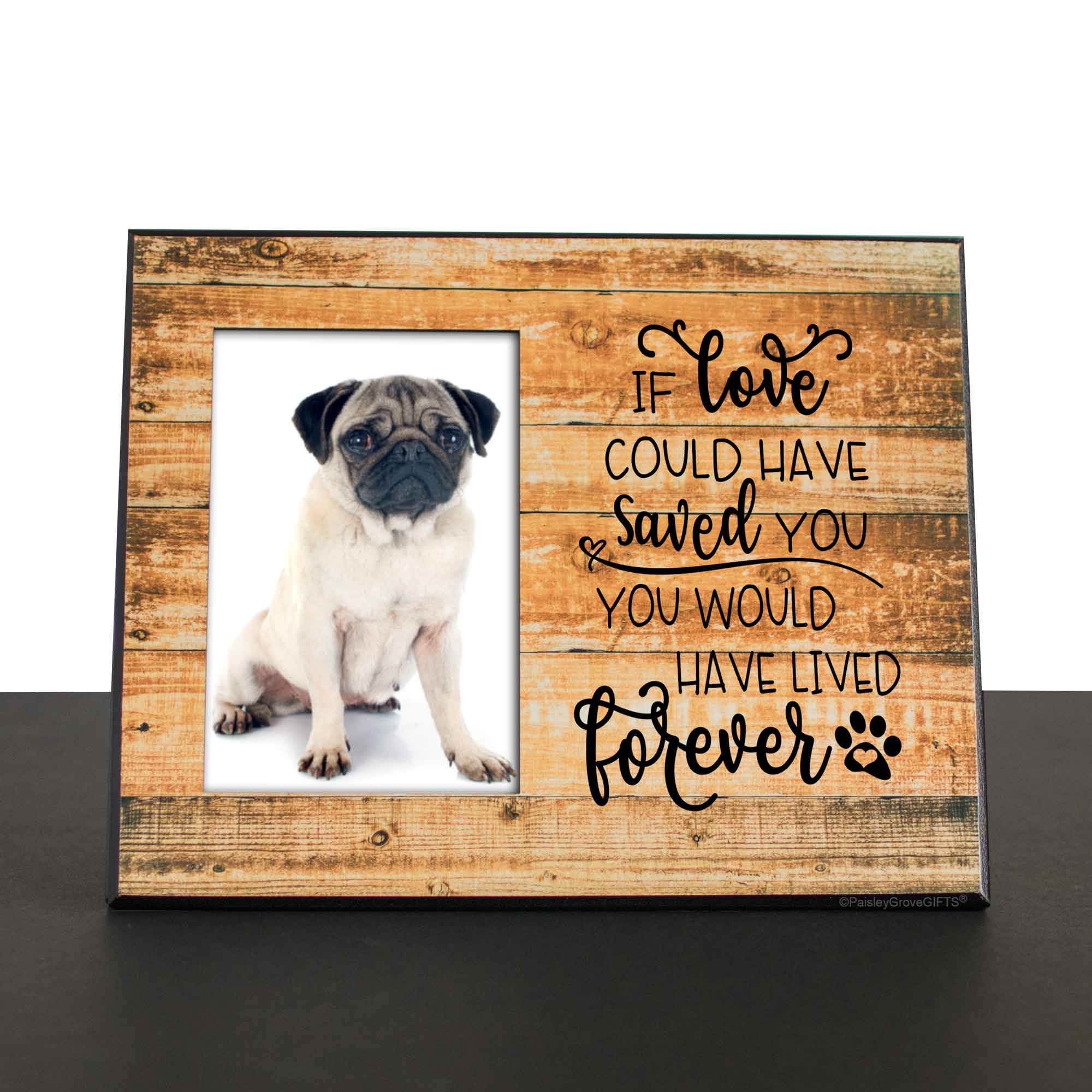CopyrightPaisleyGroveGIFTS S280b Pug Death or Dog Loss Sympathy Gift for Pet Death Rainbow Bridge Paw Prints Photo Frame