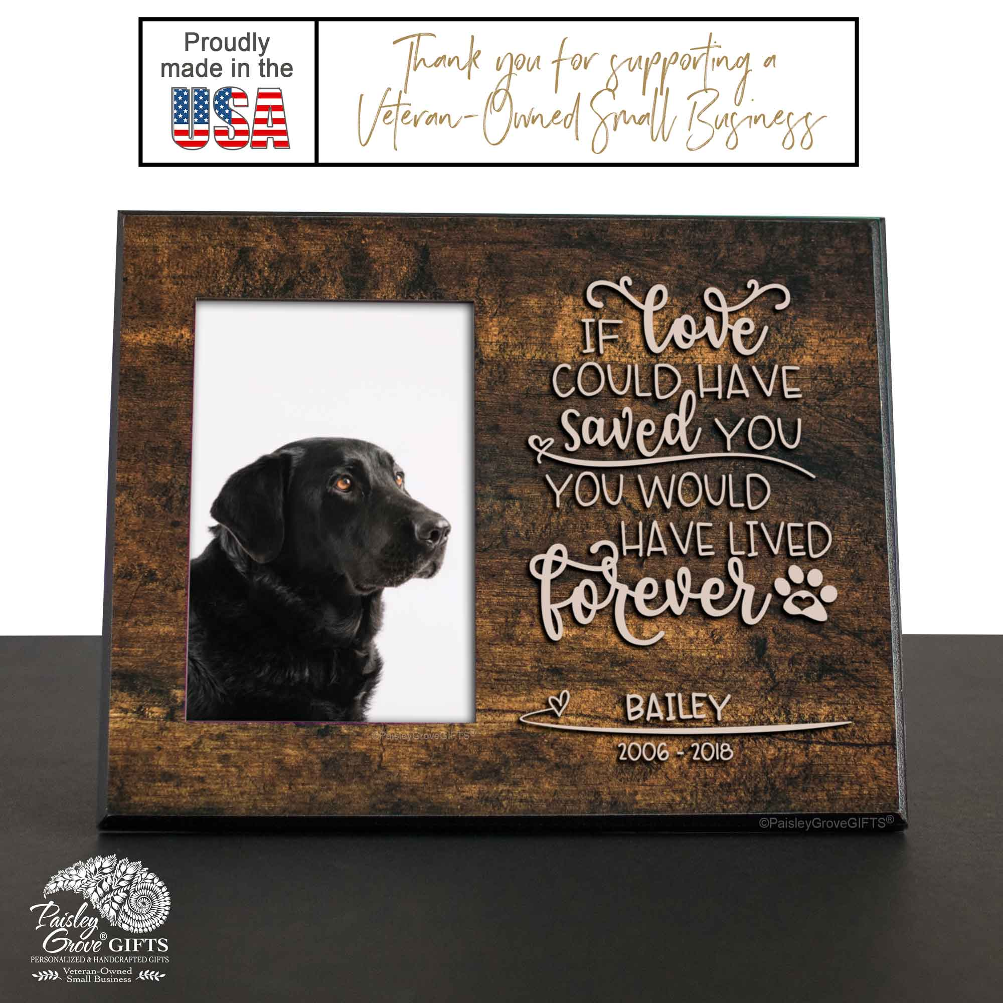CopyrightPaisleyGroveGIFTS S280c Sympathy Gift for Pet Loss 8x10 Frame with 4x6 photo insert sizing and measurements