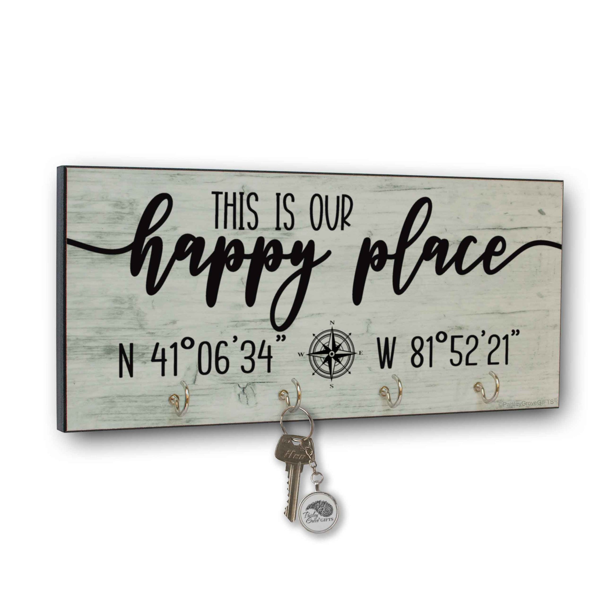 This is our Happy Place Key Holder for Wall with Coordinates - S300c1