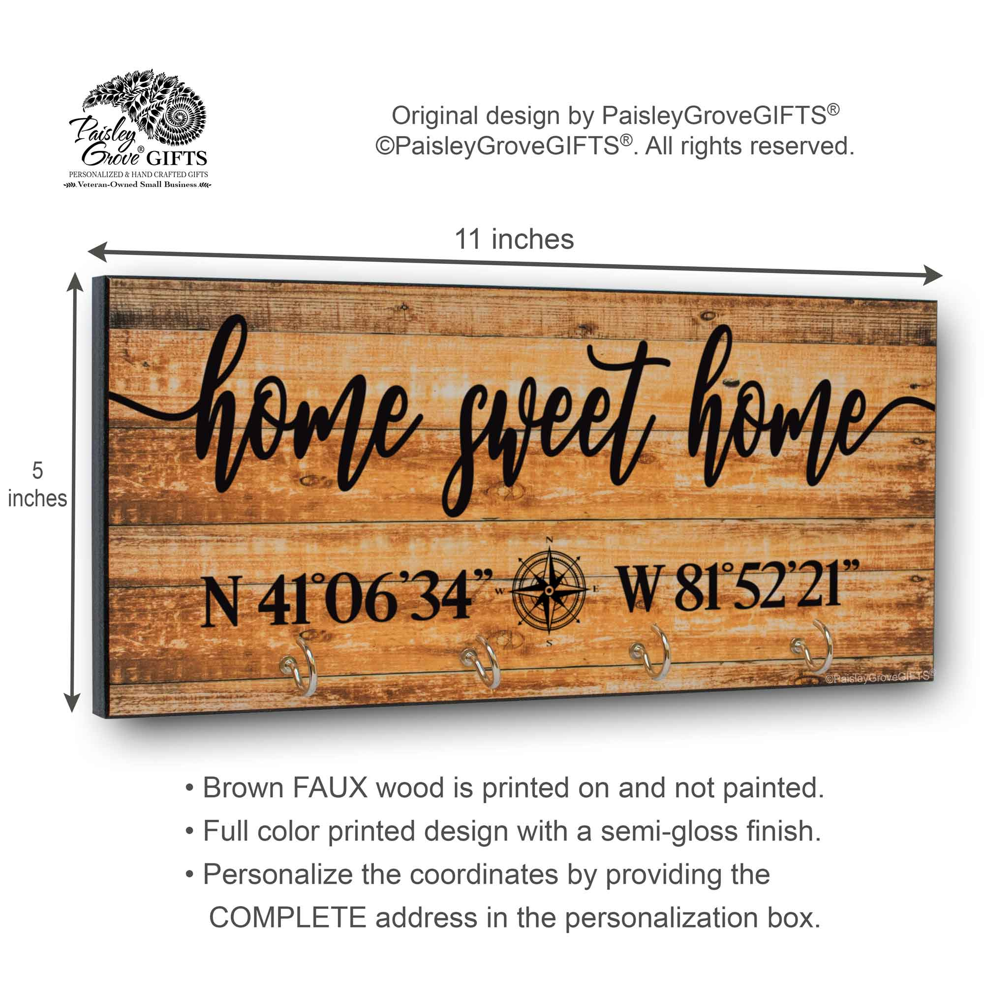 Home Sweet Home Key Holder for Wall with Coordinates Sign - S303