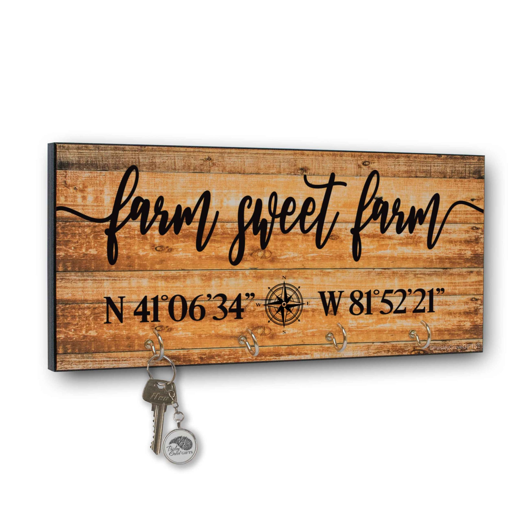 Farm Sweet Farm Key Holder for Wall with Coordinates Sign | S303b