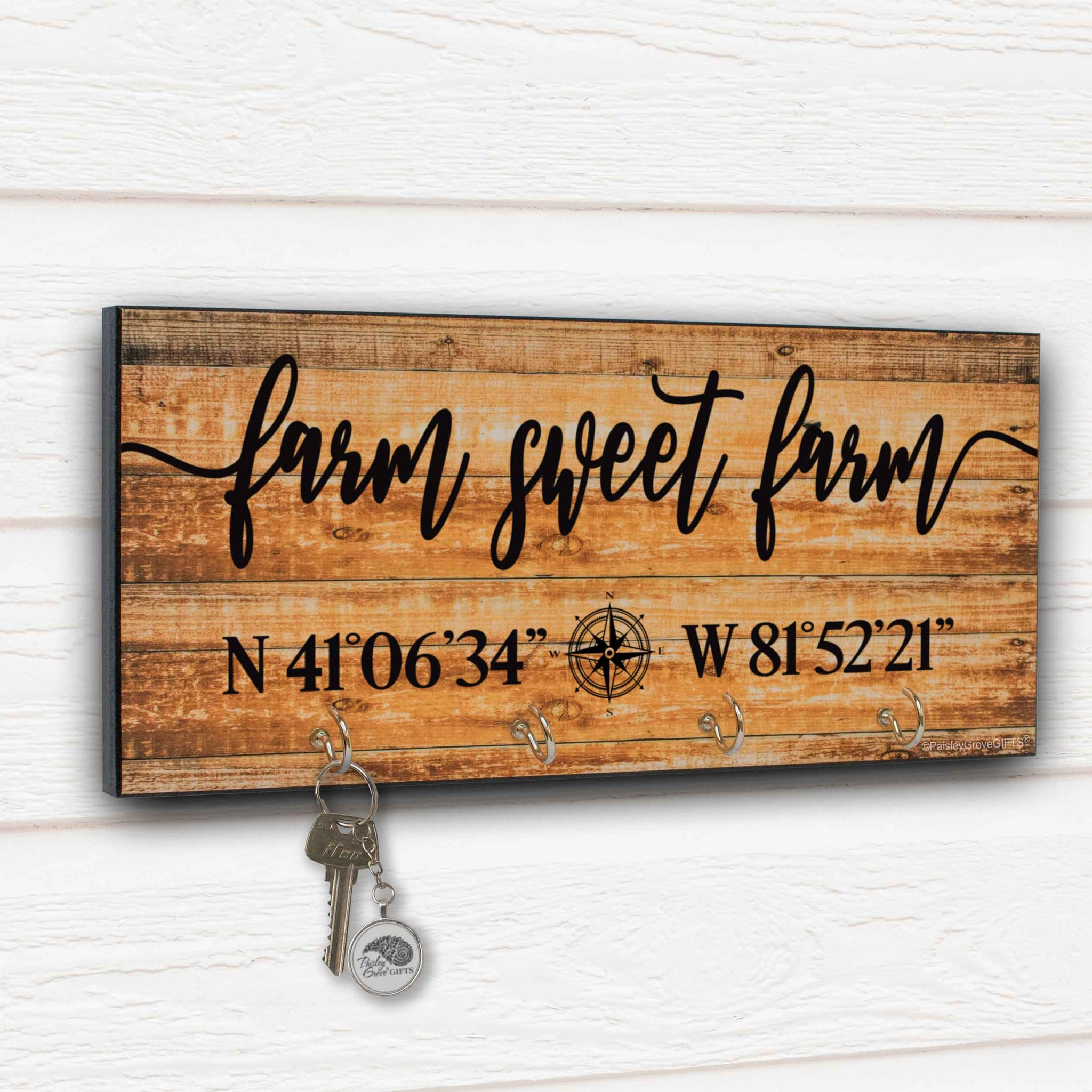 Farm Sweet Farm Key Holder for Wall with Coordinates Sign - S303b
