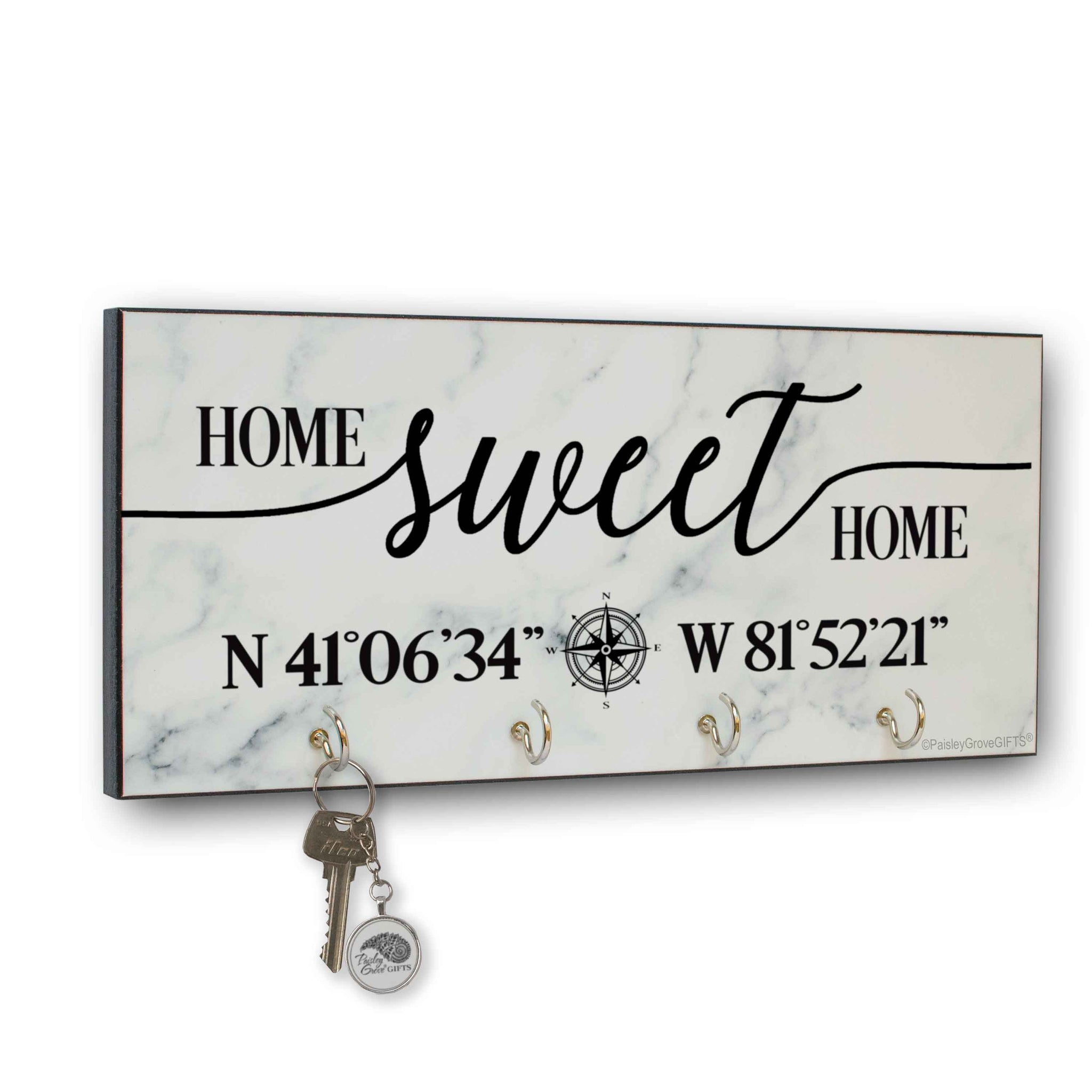 CopyrightPaisleyGroveGIFTS S303c Home Sweet Home key holder for wall Modern Marble Finish
