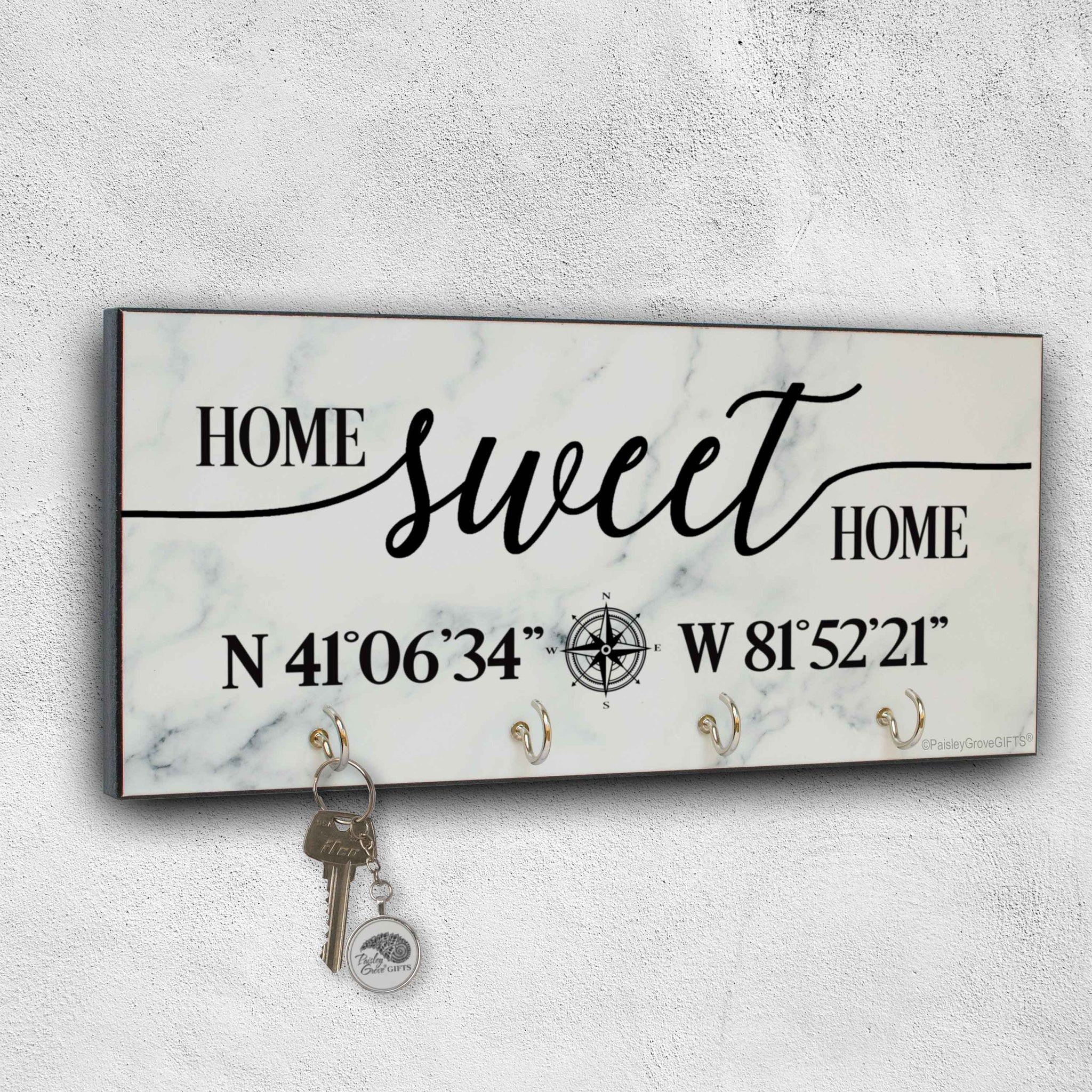 CopyrightPaisleyGroveGIFTS S303c Home Sweet Home with coordinates sign Modern Decor entryway key hanger on stucco