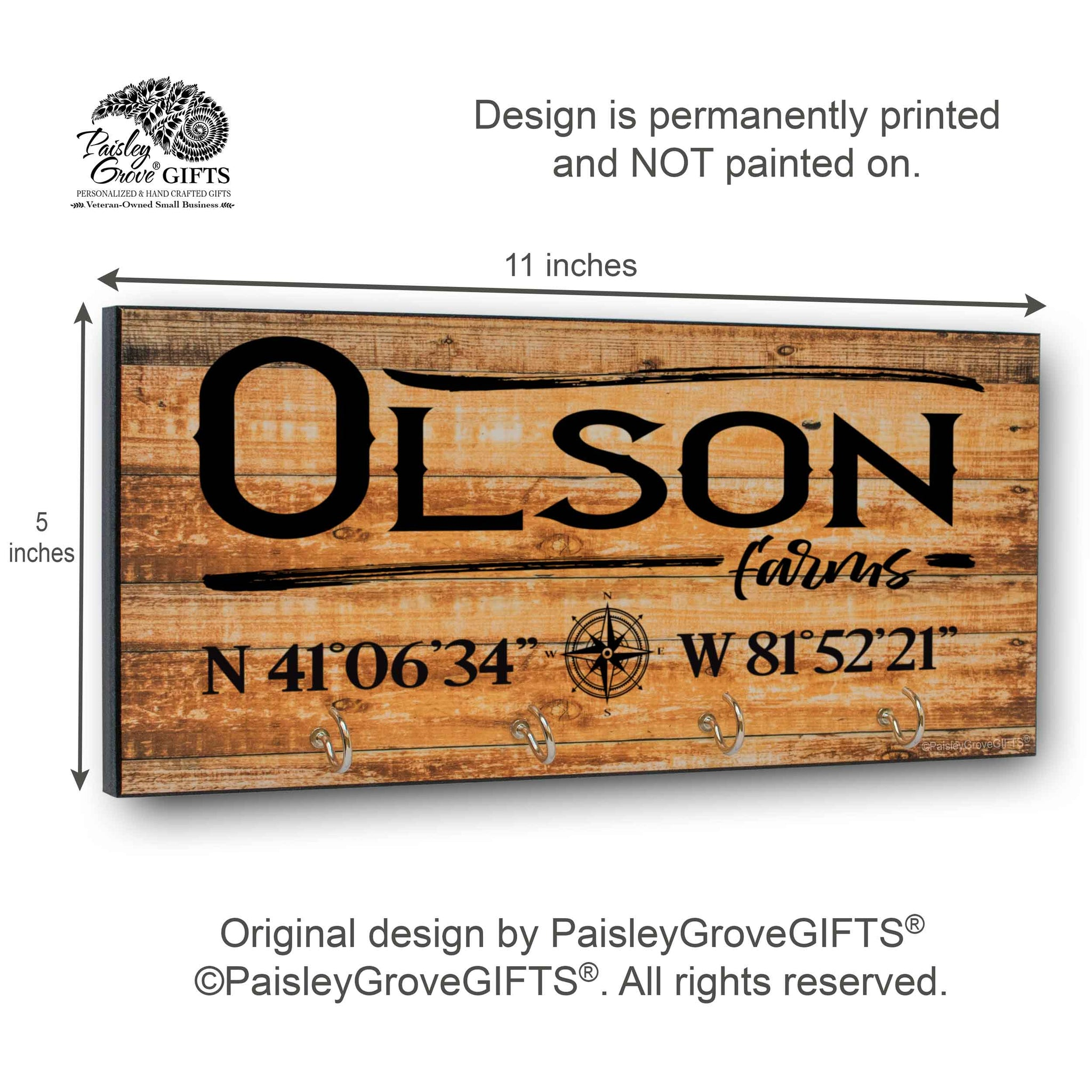 Personalized Farm Key Holder for Wall with Coordinates | S303e