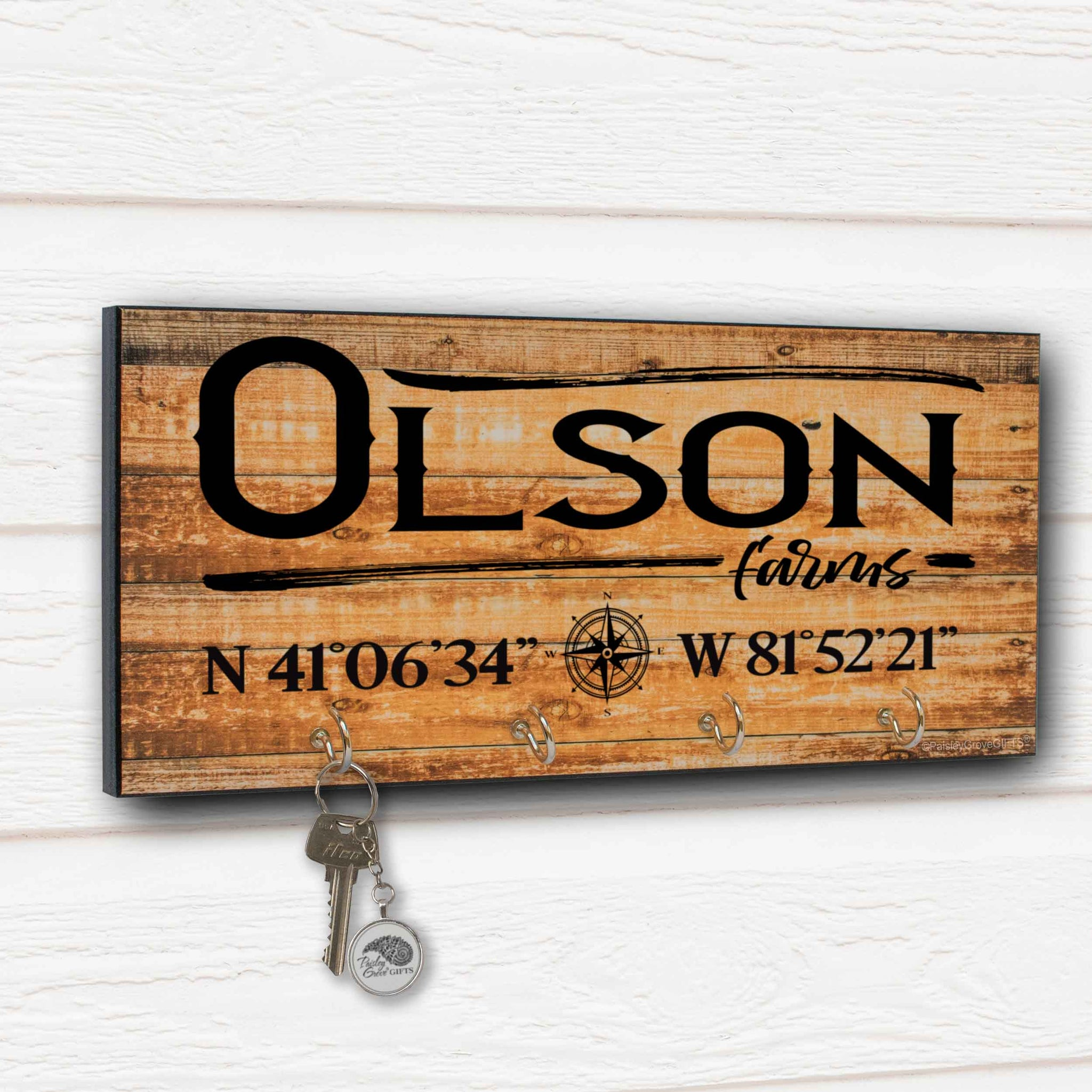 Personalized Farm Key Holder for Wall with Coordinates - S303e