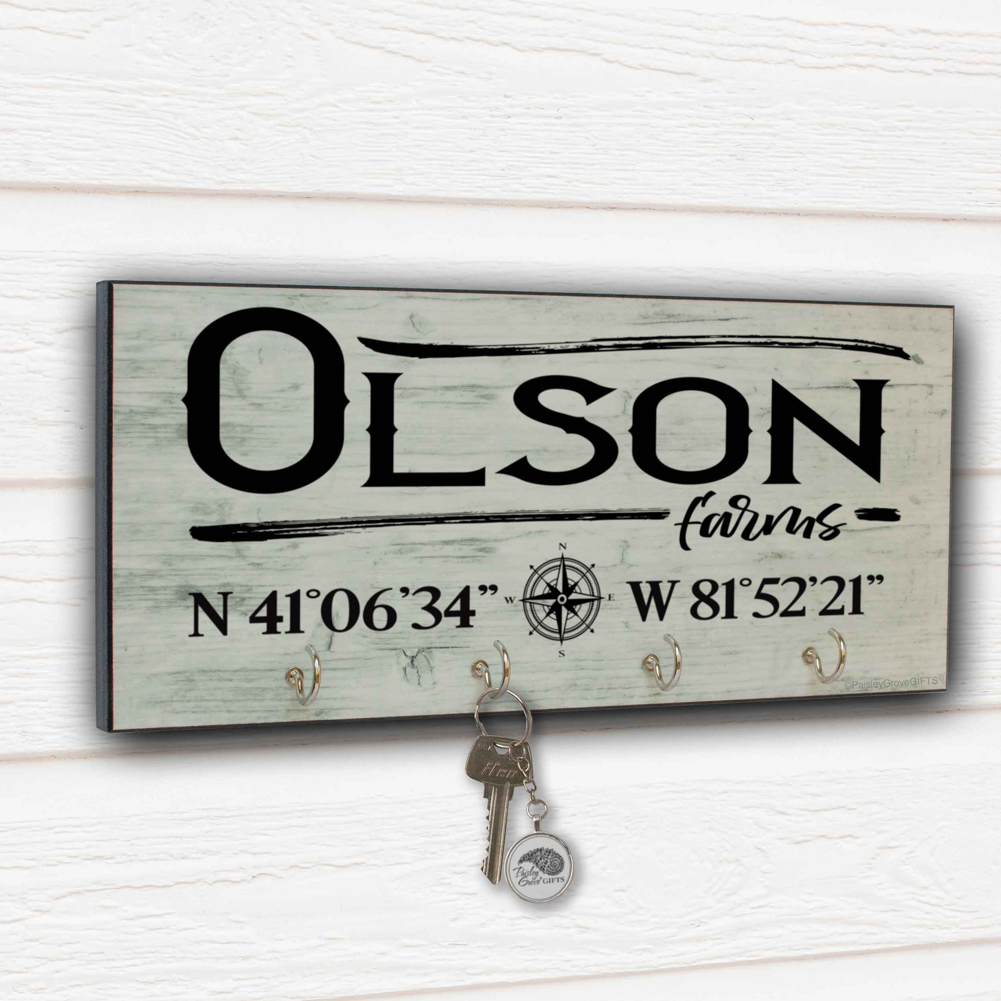 Personalized Farm Key Holder for Wall with Coordinates - S303e-2
