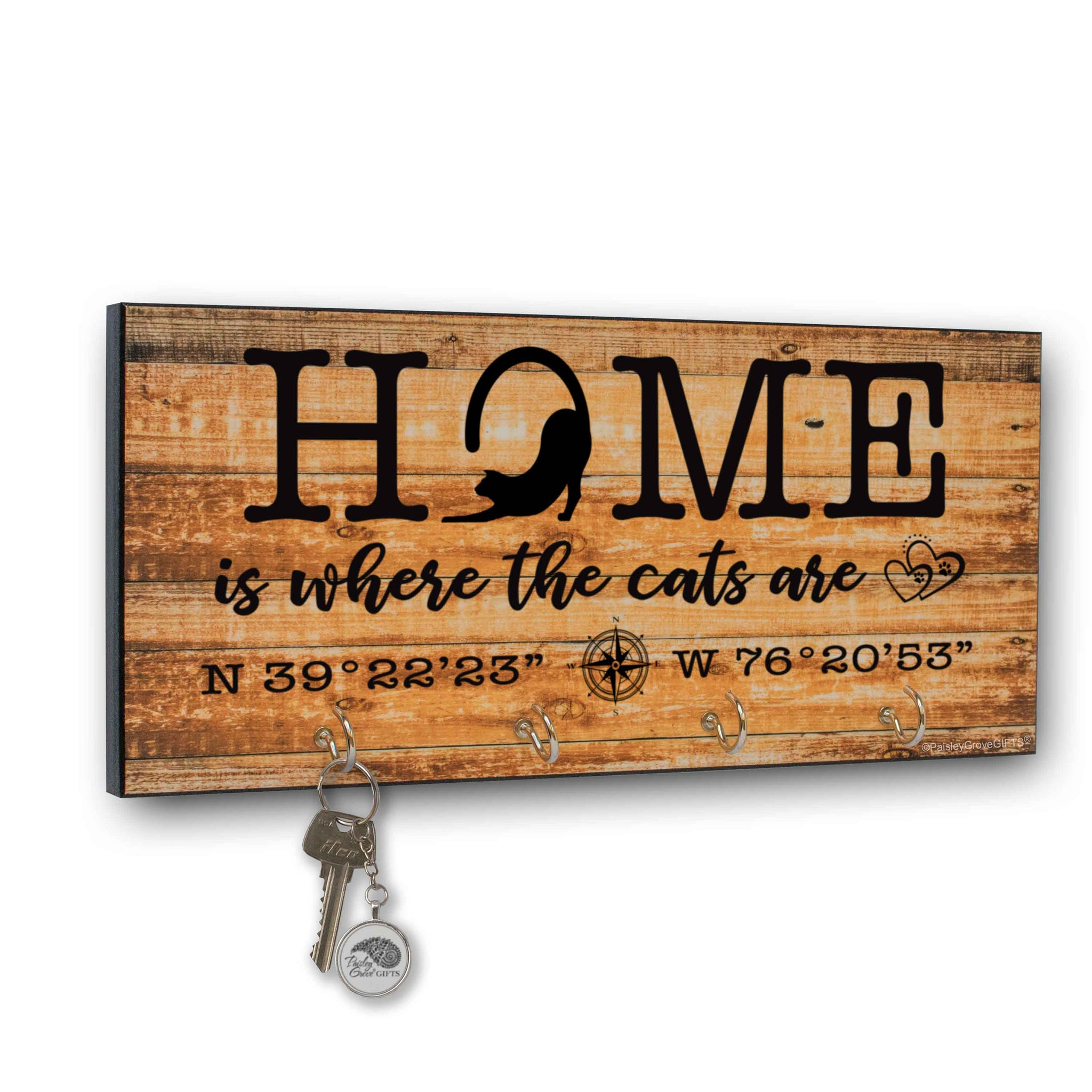 CopyrightPaisleyGroveGIFTS S307e Home is where the cats are key holder for wall with coordinates farmhouse style print