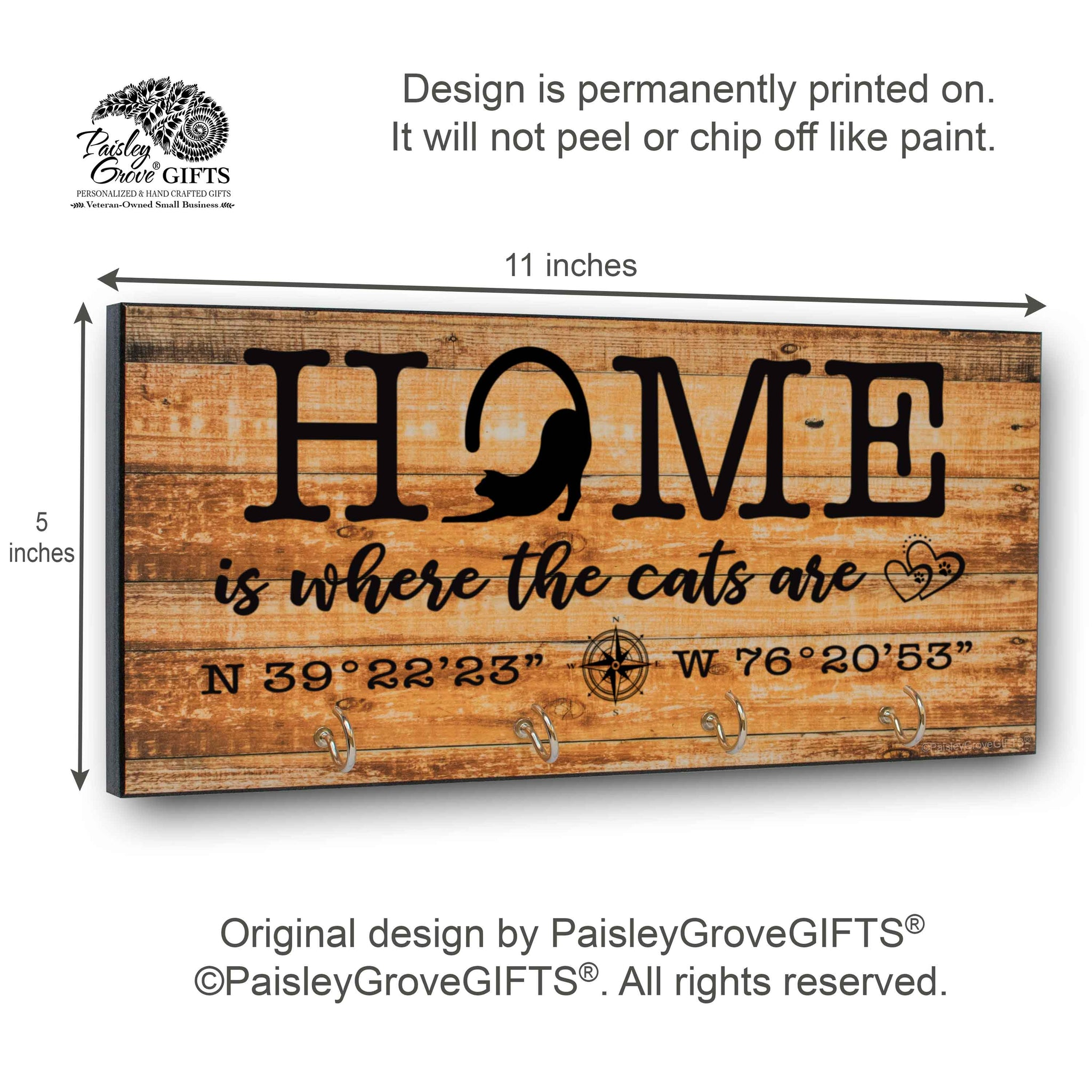 CopyrightPaisleyGroveGIFTS S307e Home is where the cats are measurements for personalized cat owner gift cat decor