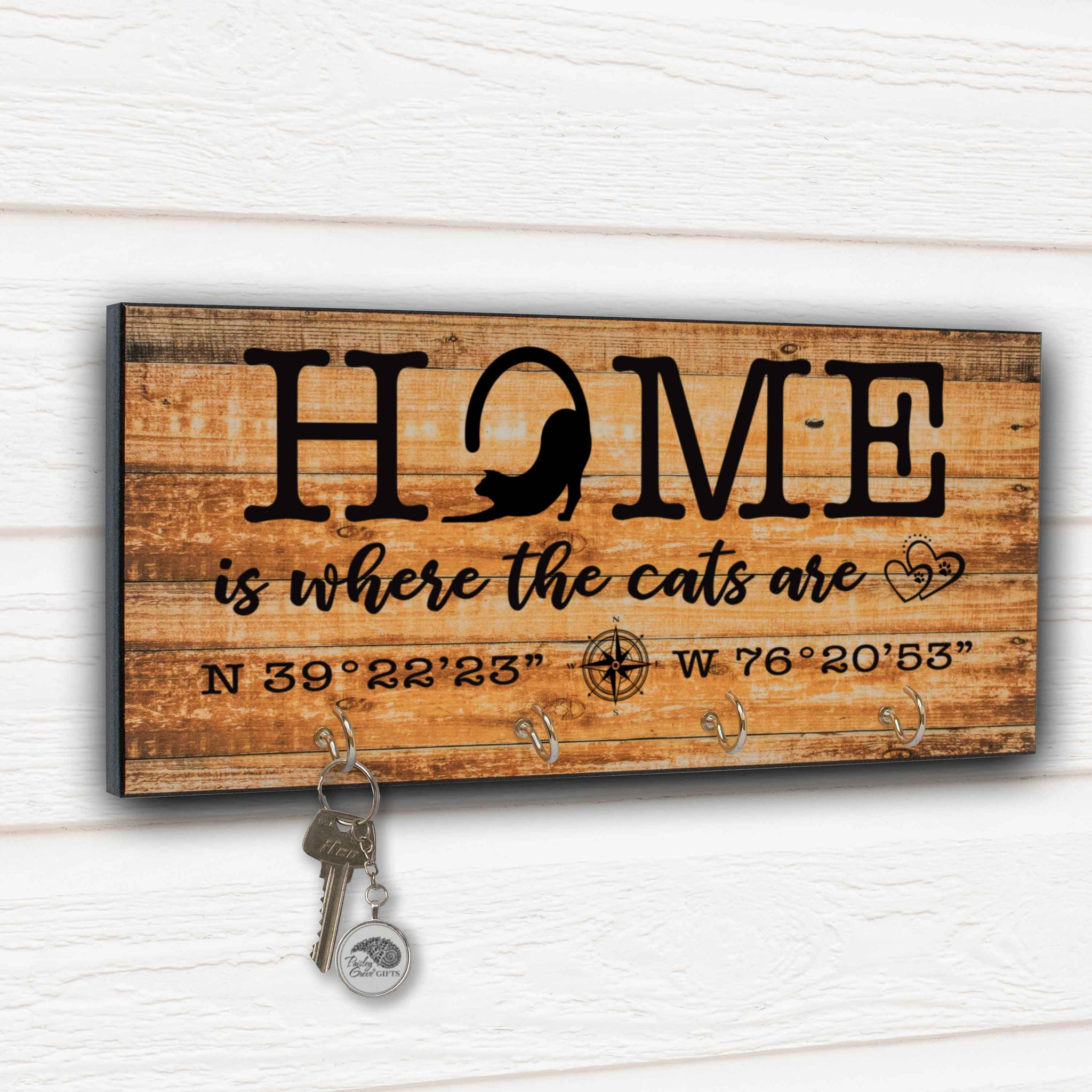CopyrightPaisleyGroveGIFTS S307e Home is where the cats are cat decor key hanger cat dad gifts