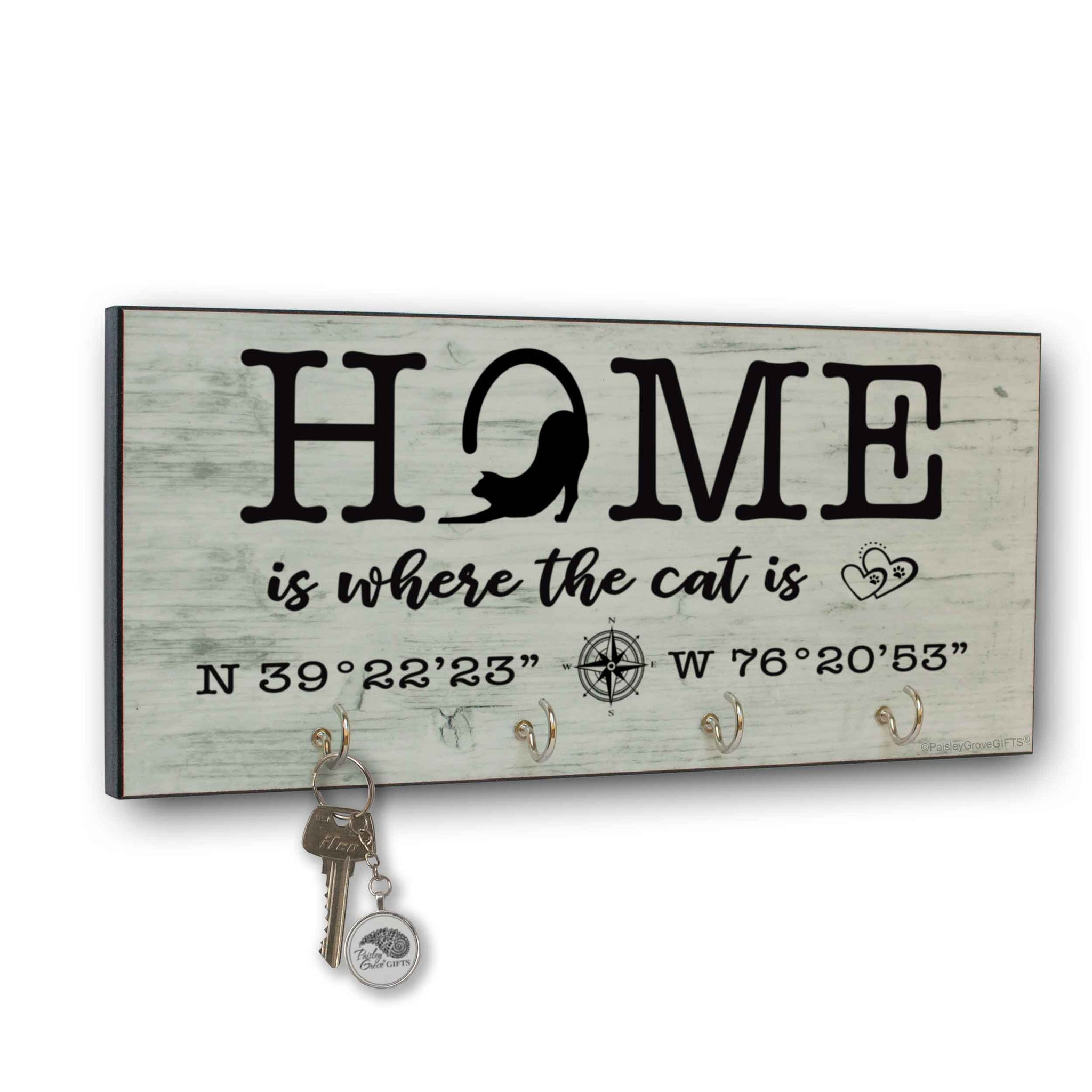 CopyrightPaisleyGroveGIFTS S307f Home is where the cats is key holder for wall with coordinates farmhouse style print