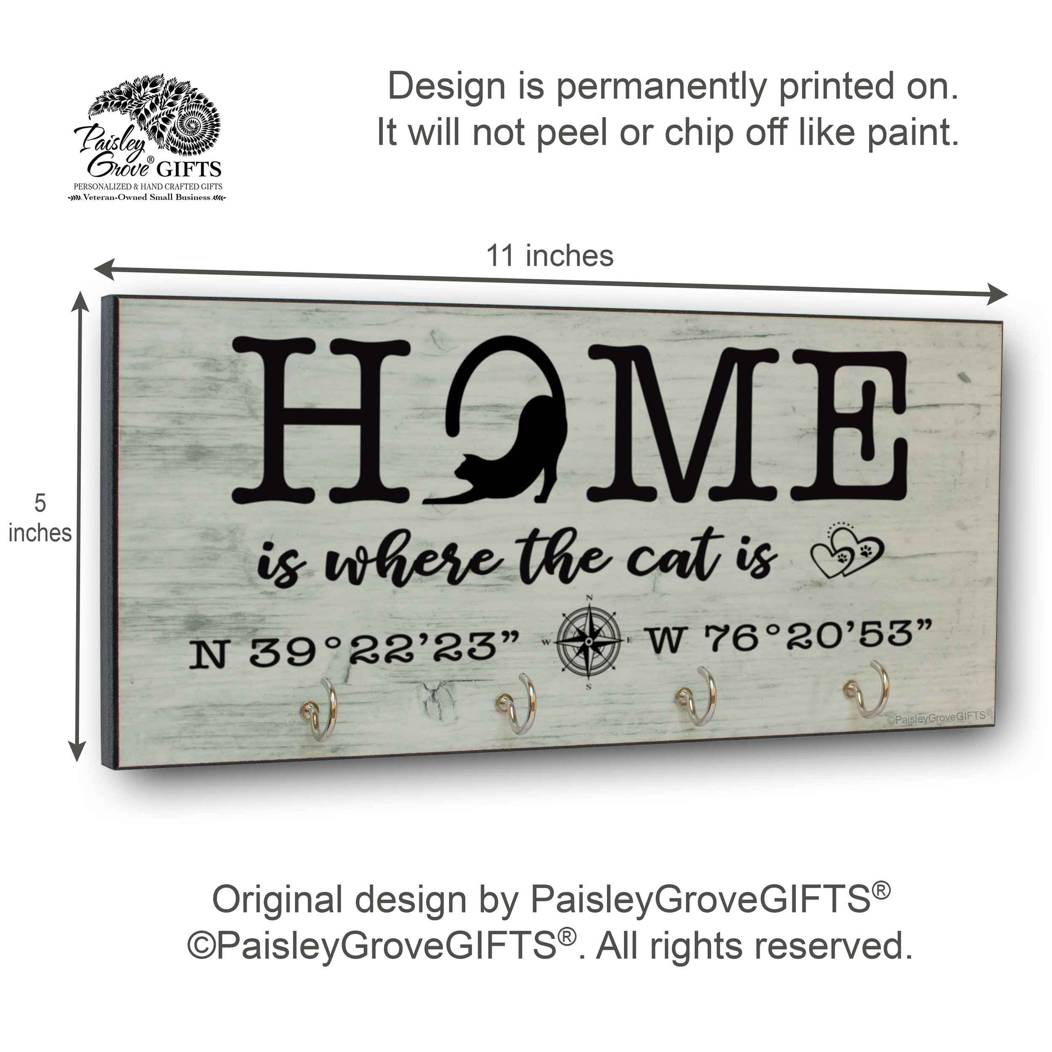 CopyrightPaisleyGroveGIFTS S307f Home is where the cats is measurements for personalized cat owner gift cat decor