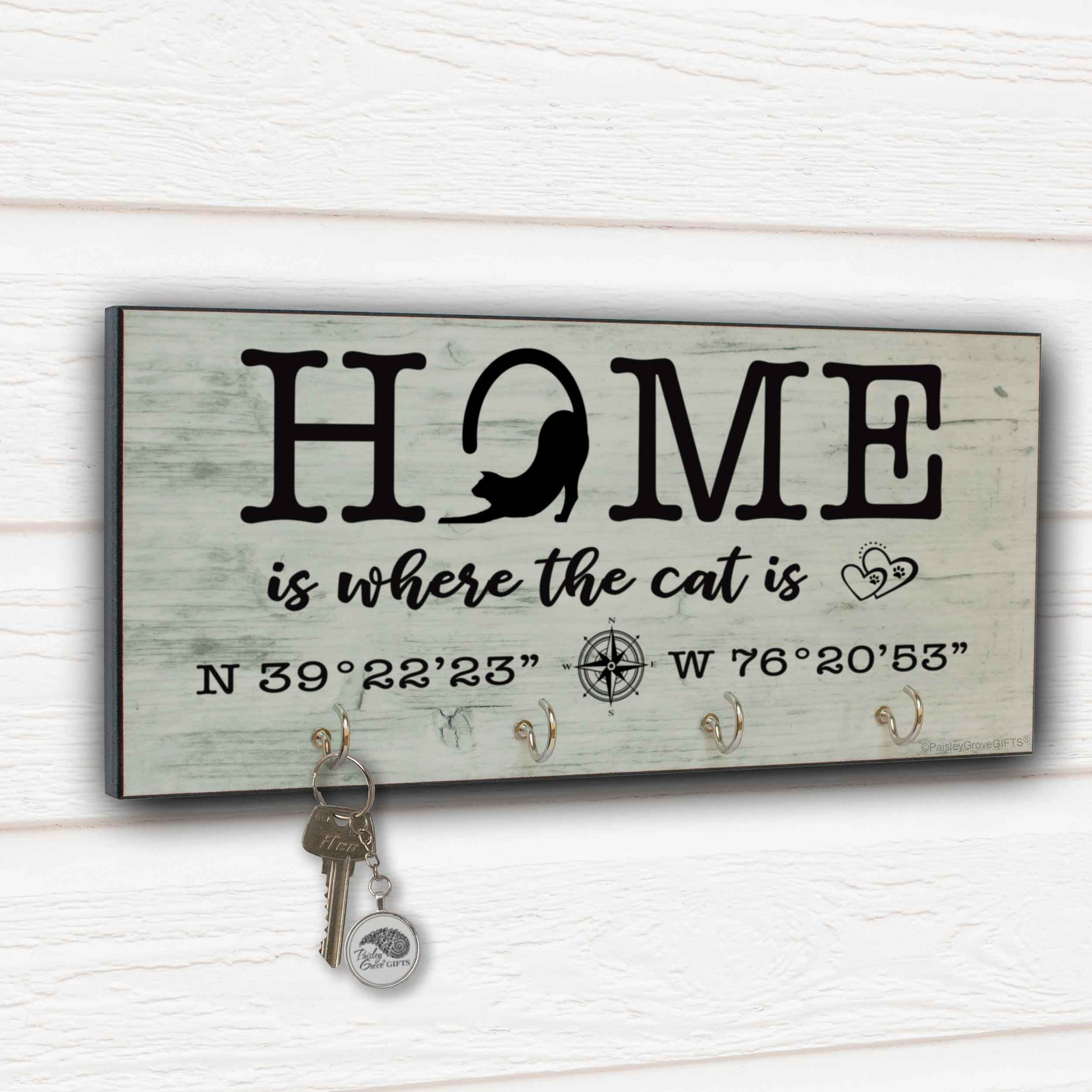 CopyrightPaisleyGroveGIFTS S307f Home is where the cats is cat decor key hanger cat dad gifts