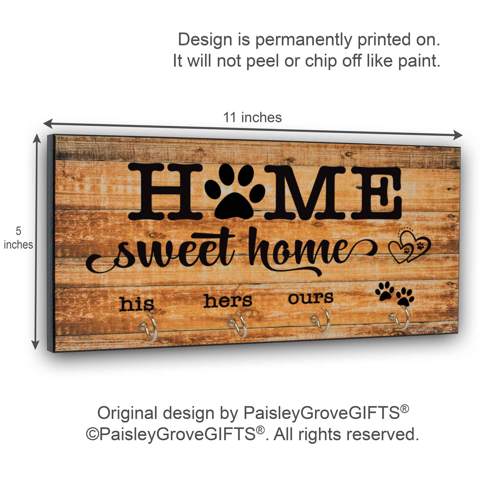 CopyrightPaisleyGroveGIFTS S307j Farmhouse Key Hanger for Wall with Leash Hook Entryway Organizer Measurements