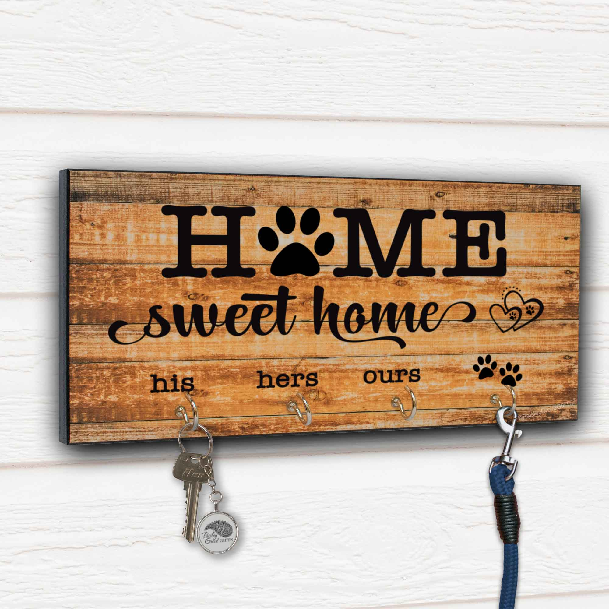 CopyrightPaisleyGroveGIFTS S307j Farmhouse Wood Sign Home Sweet Home Dog Owners Housewarming Gift Key Hooks and Leash Hanger